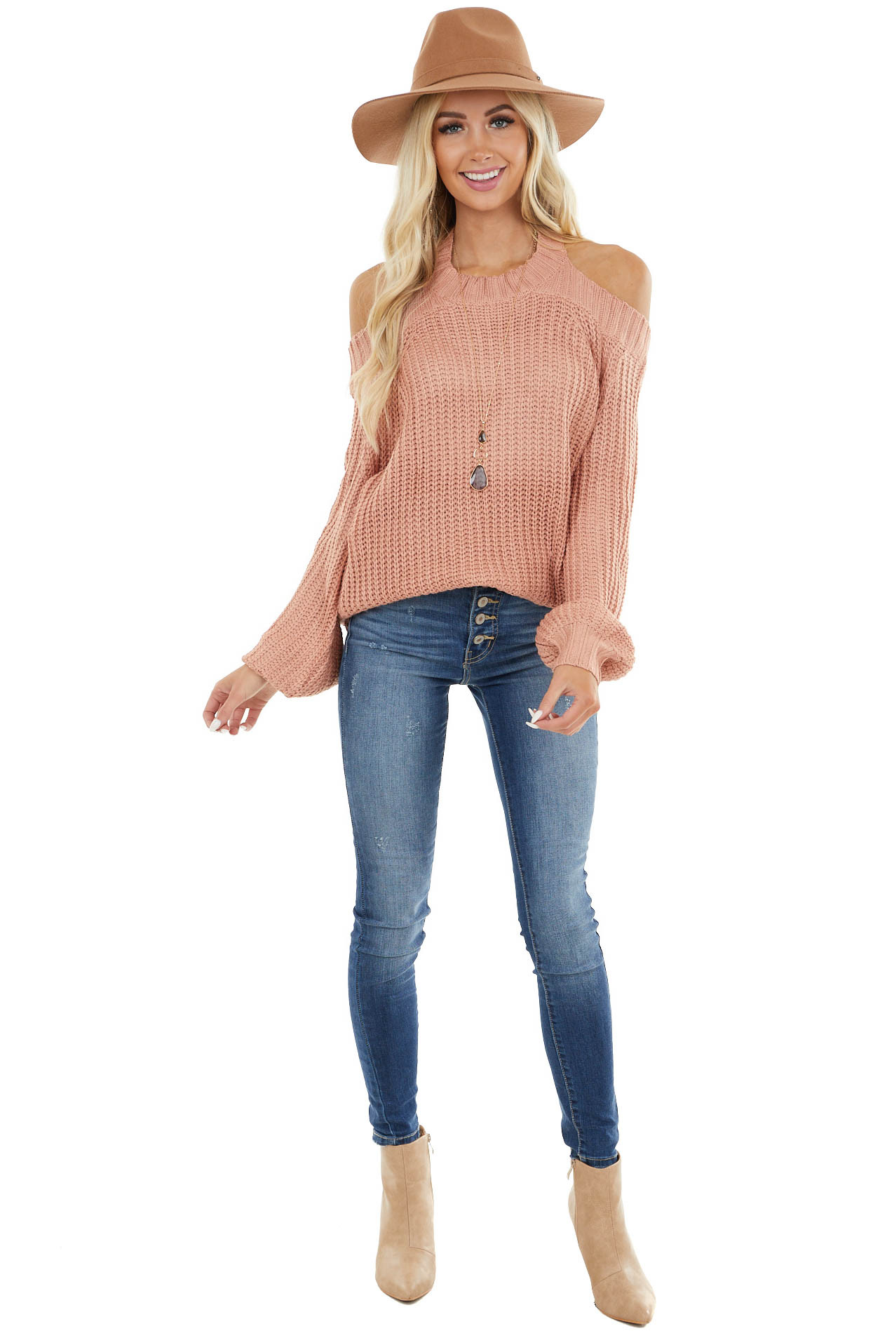 Dusty Coral Cold Shoulder Sweater with Back Hole Detail