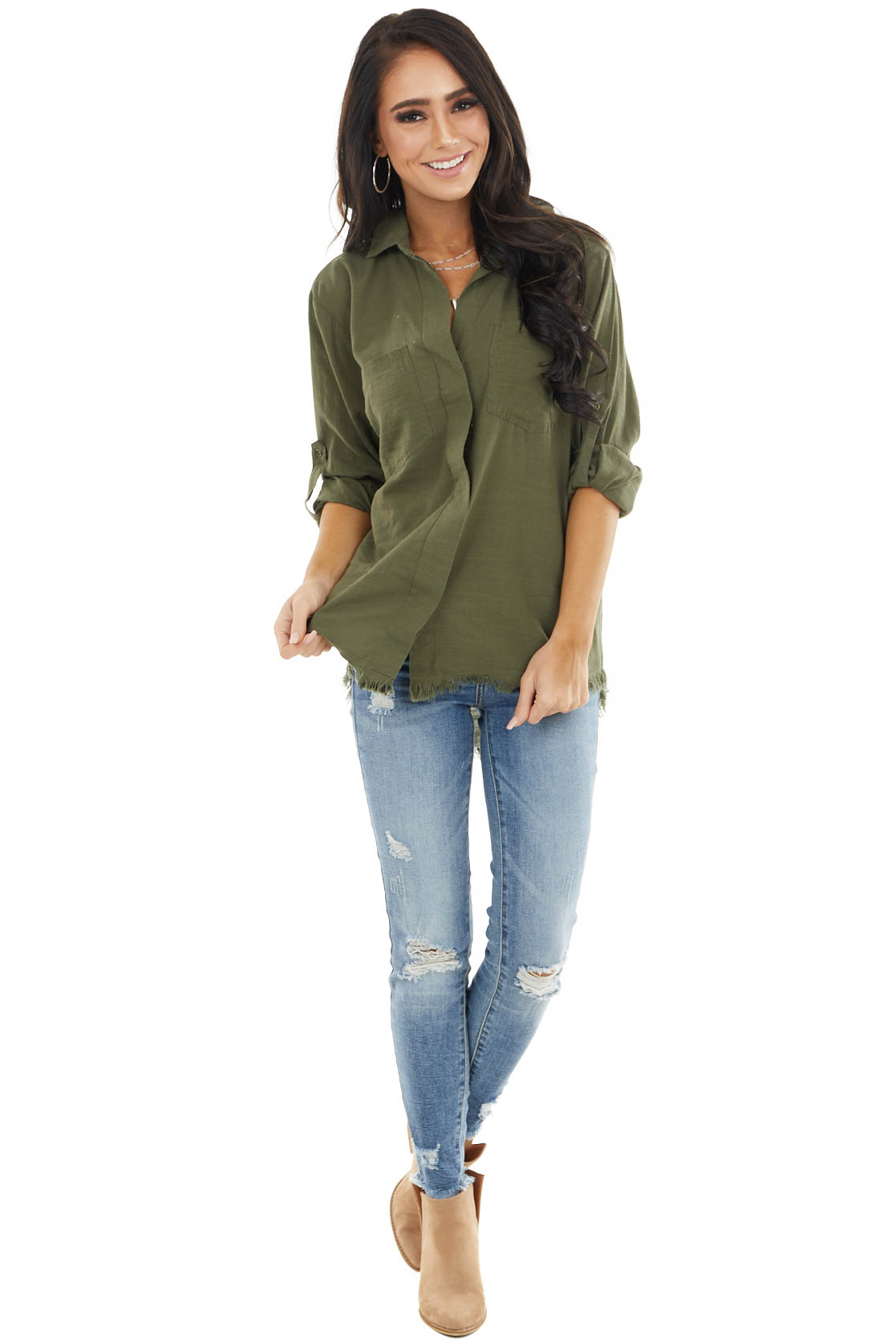 Olive Button Up Collared Long Sleeve Top with Chest Pockets
