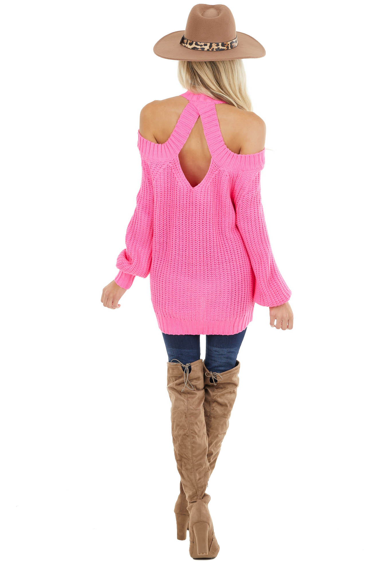 Hot Pink Cold Shoulder Sweater with Back Hole Detail