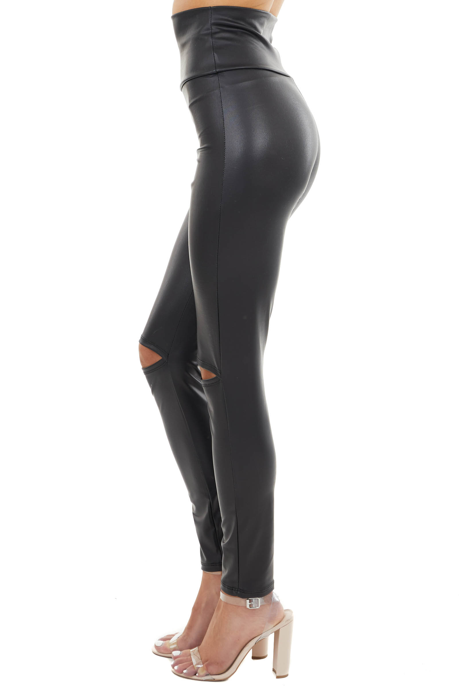 Black Faux Leather Leggings with Knee Slit Details