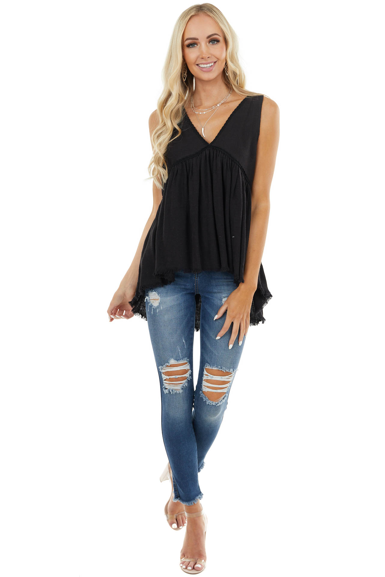Black Babydoll Sleeveless Top with Lace and Frayed Detail