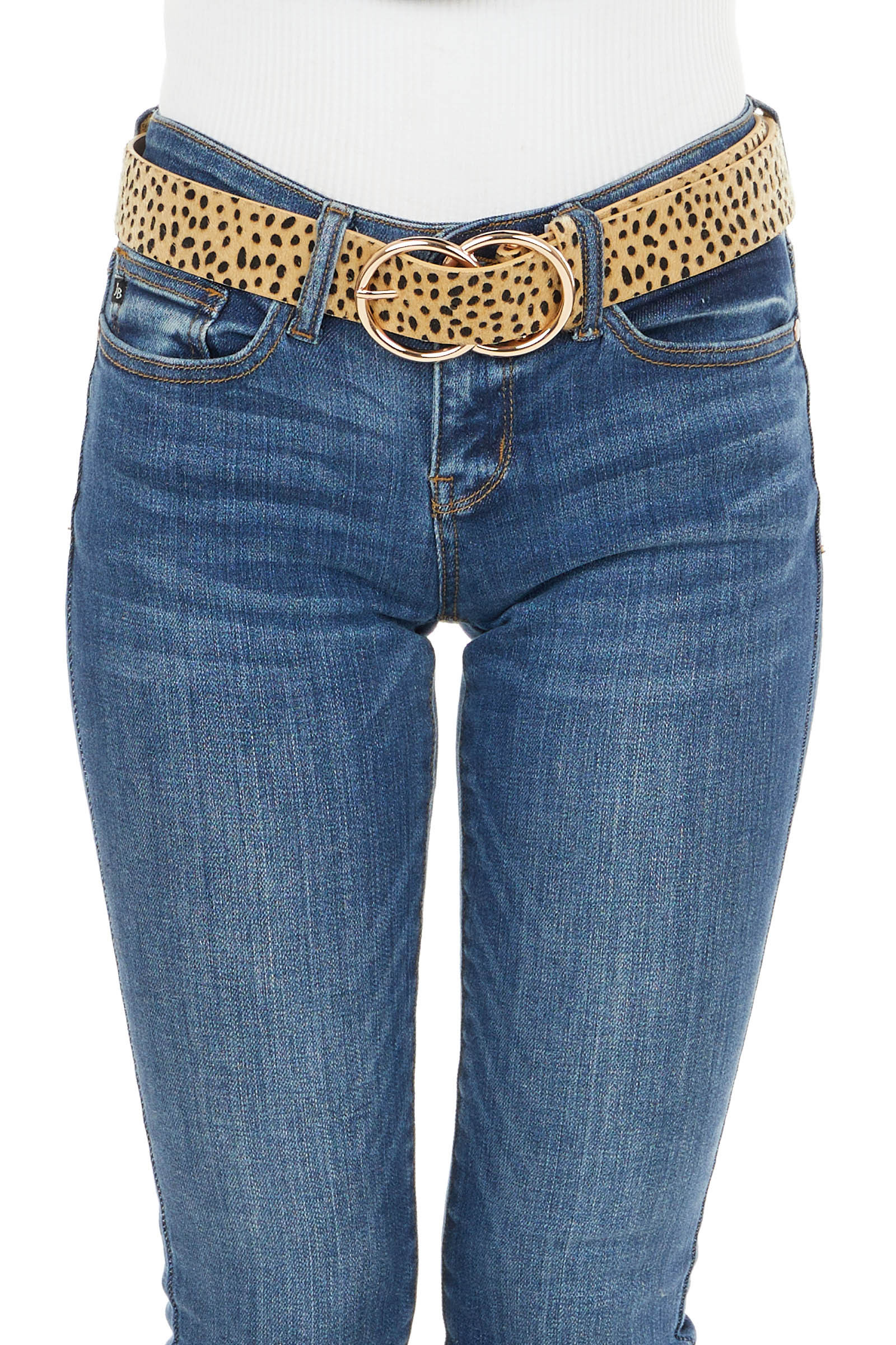 Camel Furry Cheetah Print Leather Belt with Rose Gold Buckle