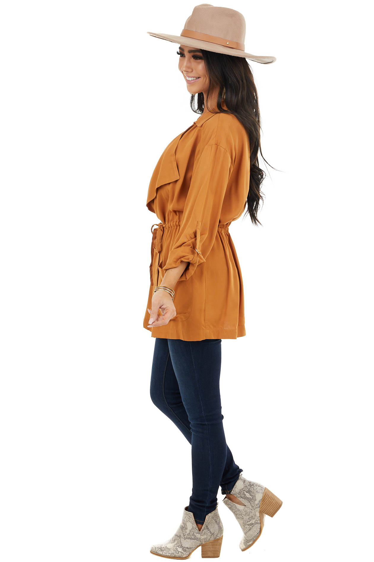Camel Lightweight Cargo Jacket with Front Tie and Pockets