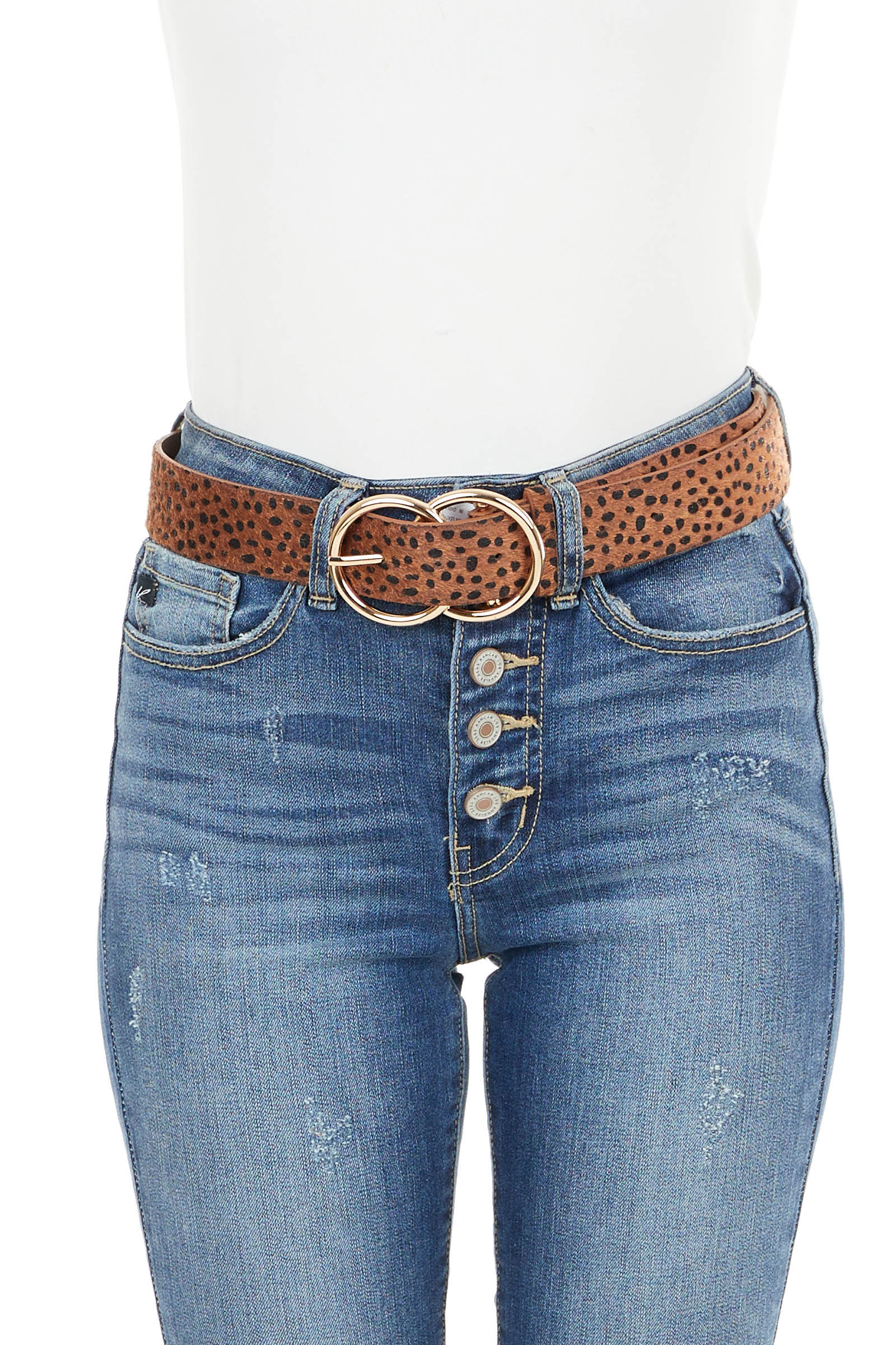 Cognac Furry Cheetah Print Leather Belt with Gold Buckle