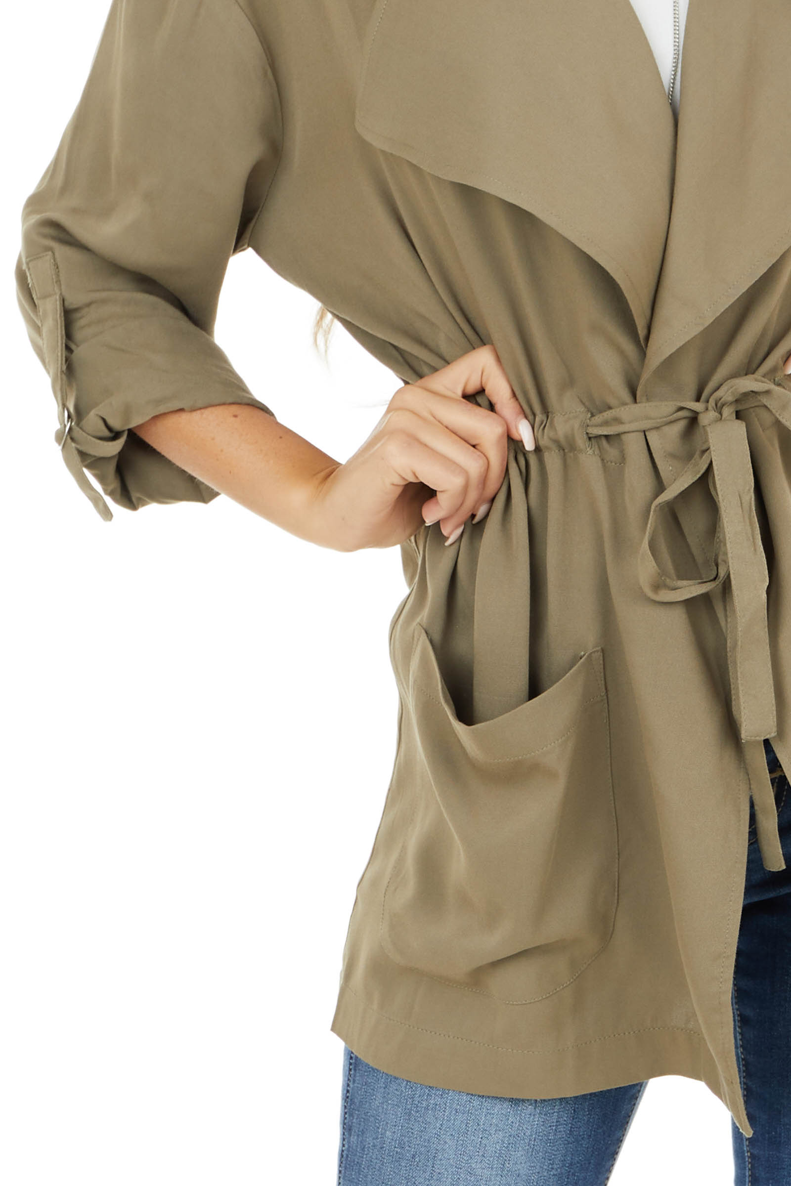 Olive Lightweight Cargo Jacket with Front Tie and Pockets