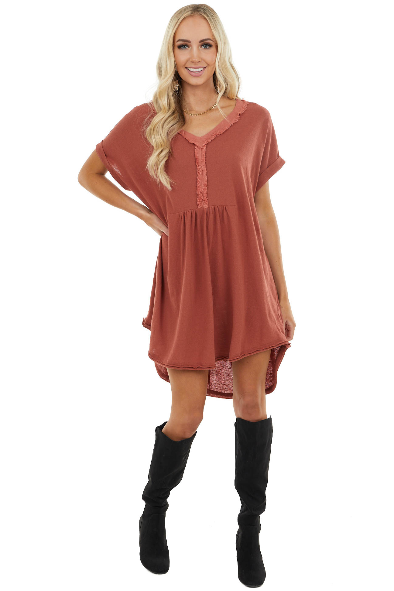 Vintage Rust Flowy Short Sleeve Dress with Frayed Detail