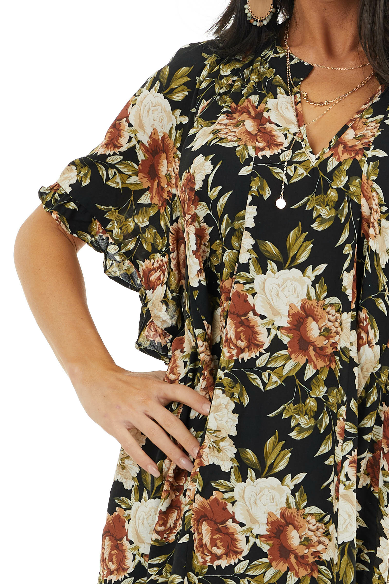 Black Floral Print Tunic Top with Short Ruffle Sleeves