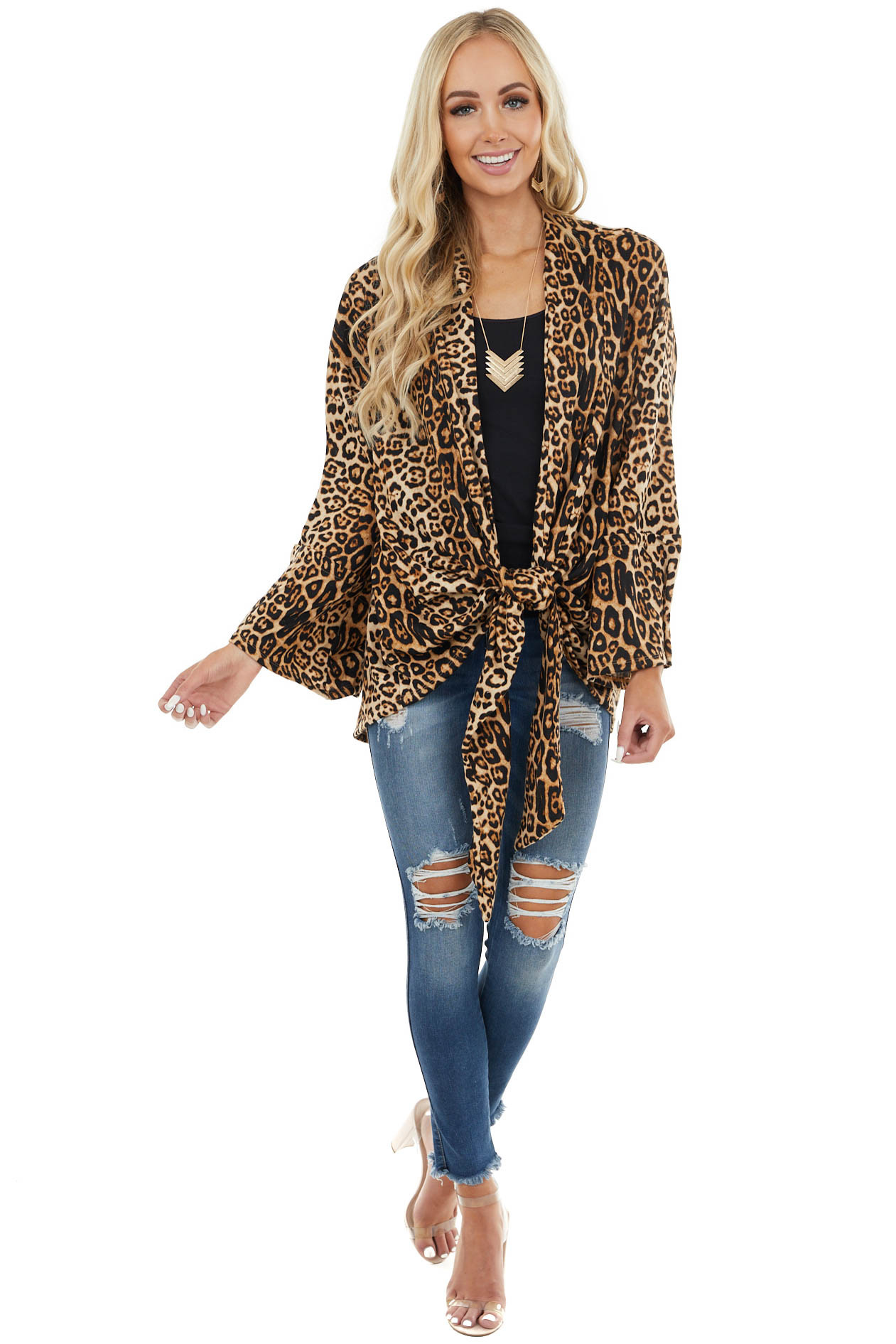 Camel Leopard Print Open Front Cardigan with Front Tie