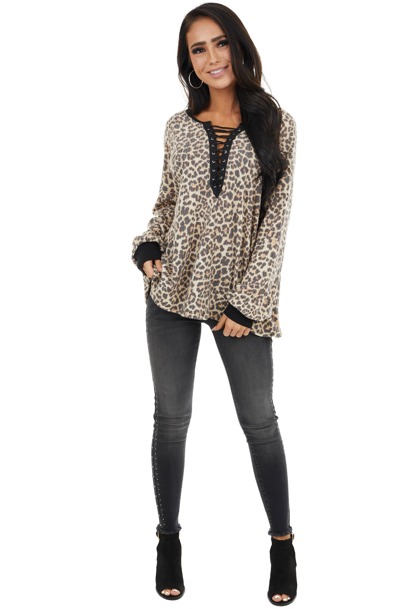 Cream and Charcoal Leopard Print Knit Top with V Neckline
