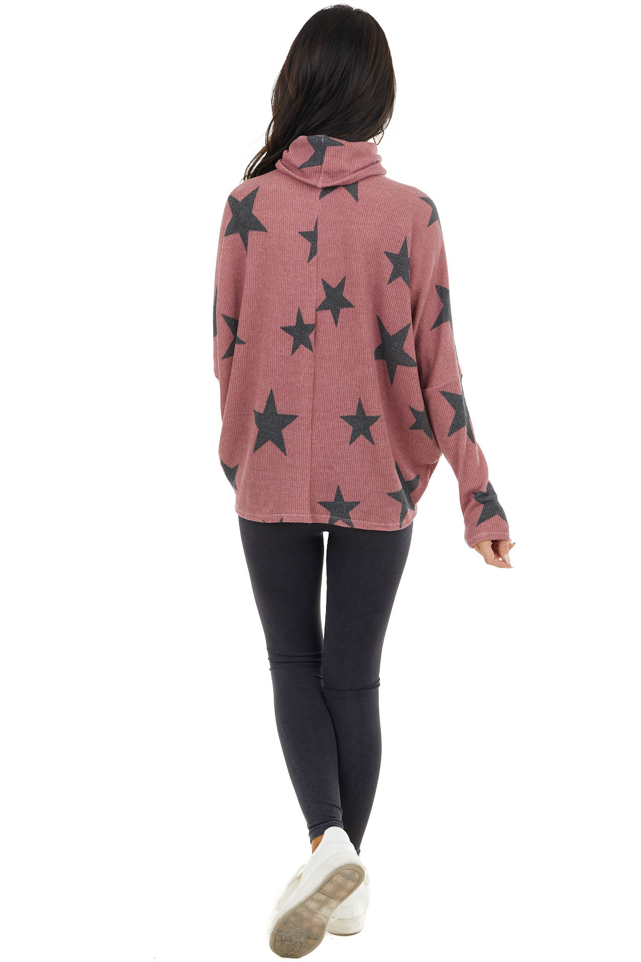 Light Wine Star Print Top with Cowl Neck and V Cutout Detail