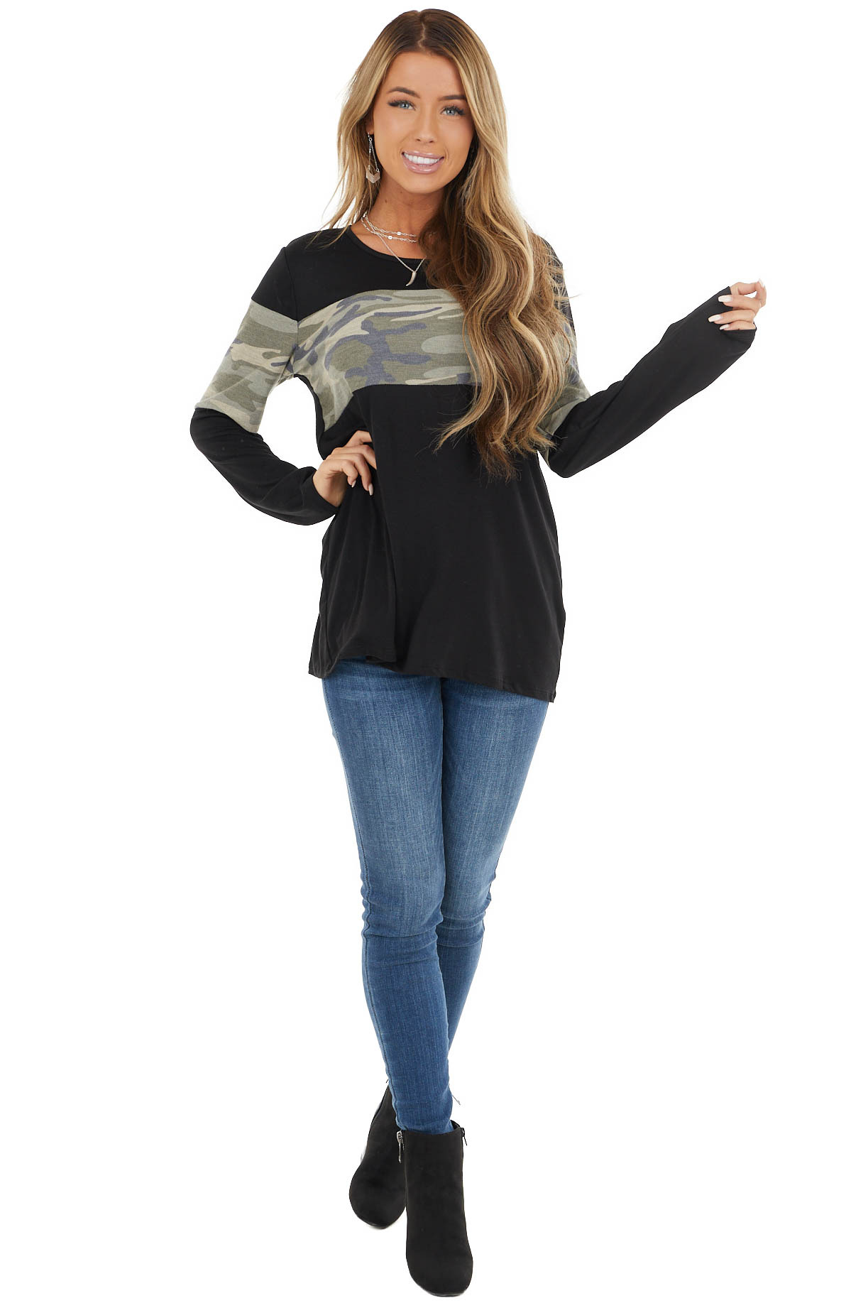 Black and Olive Long Sleeved Top with Camo Contrast