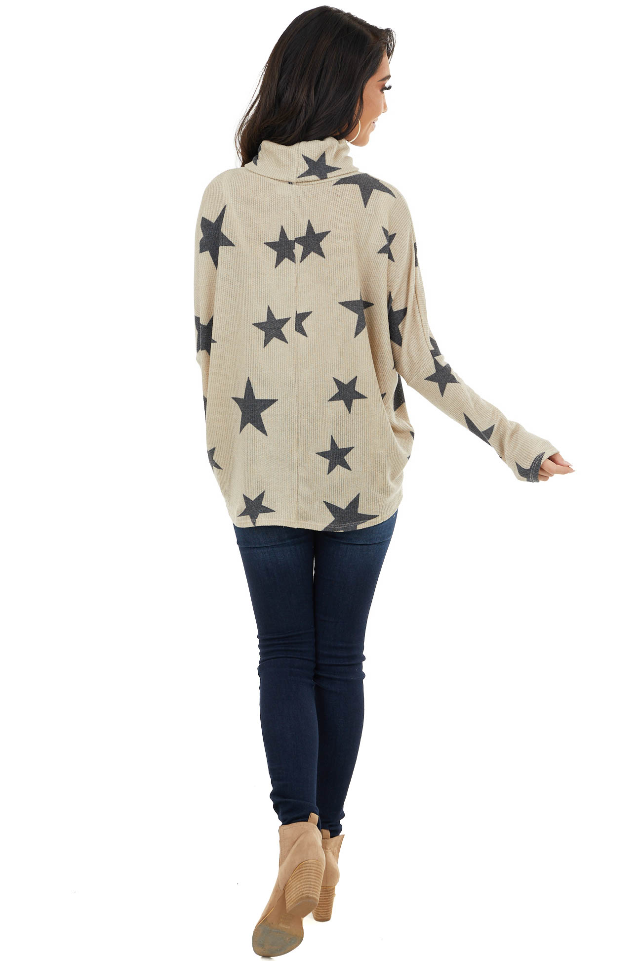 Oatmeal Star Print Top with Cowl Neck and V Cutout Detail