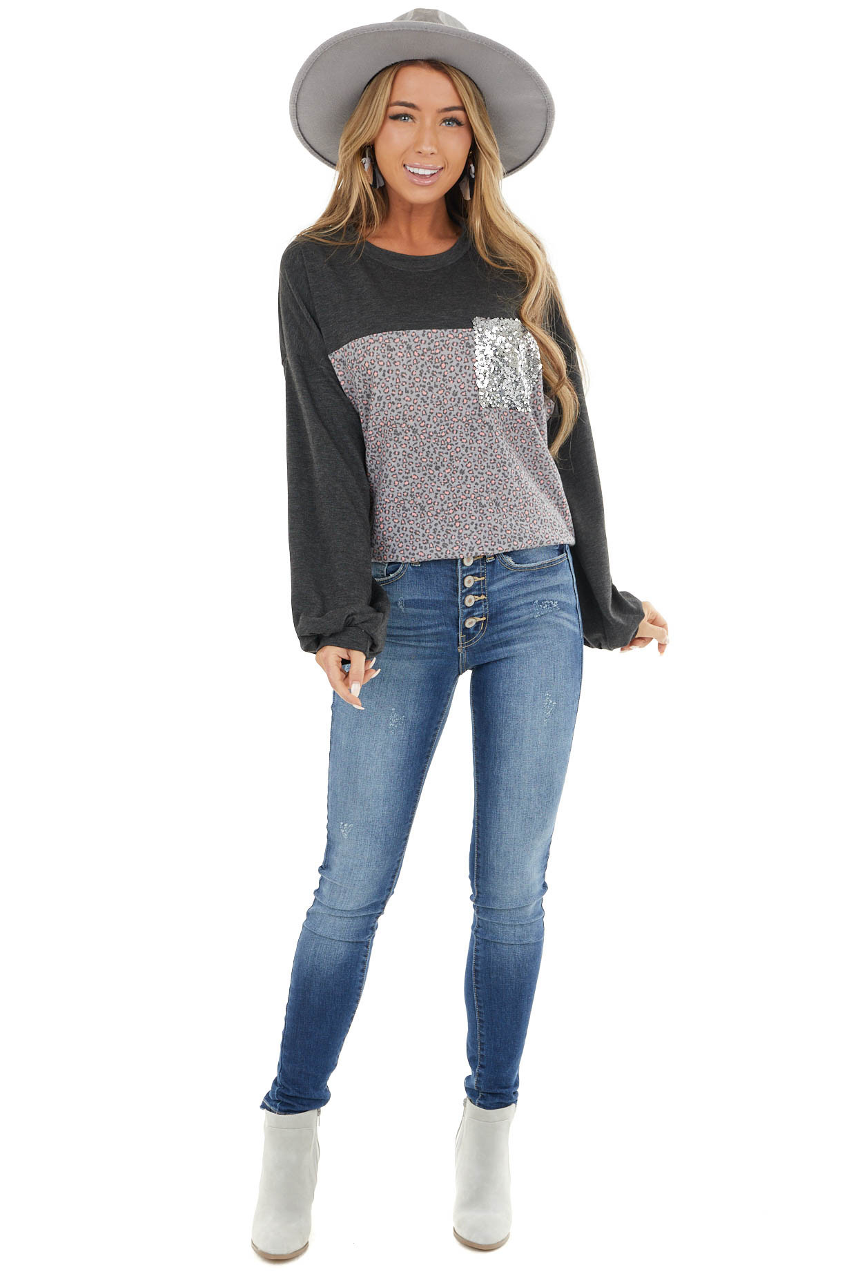 Charcoal Leopard Print Puff Sleeve Top with Sequin Pocket