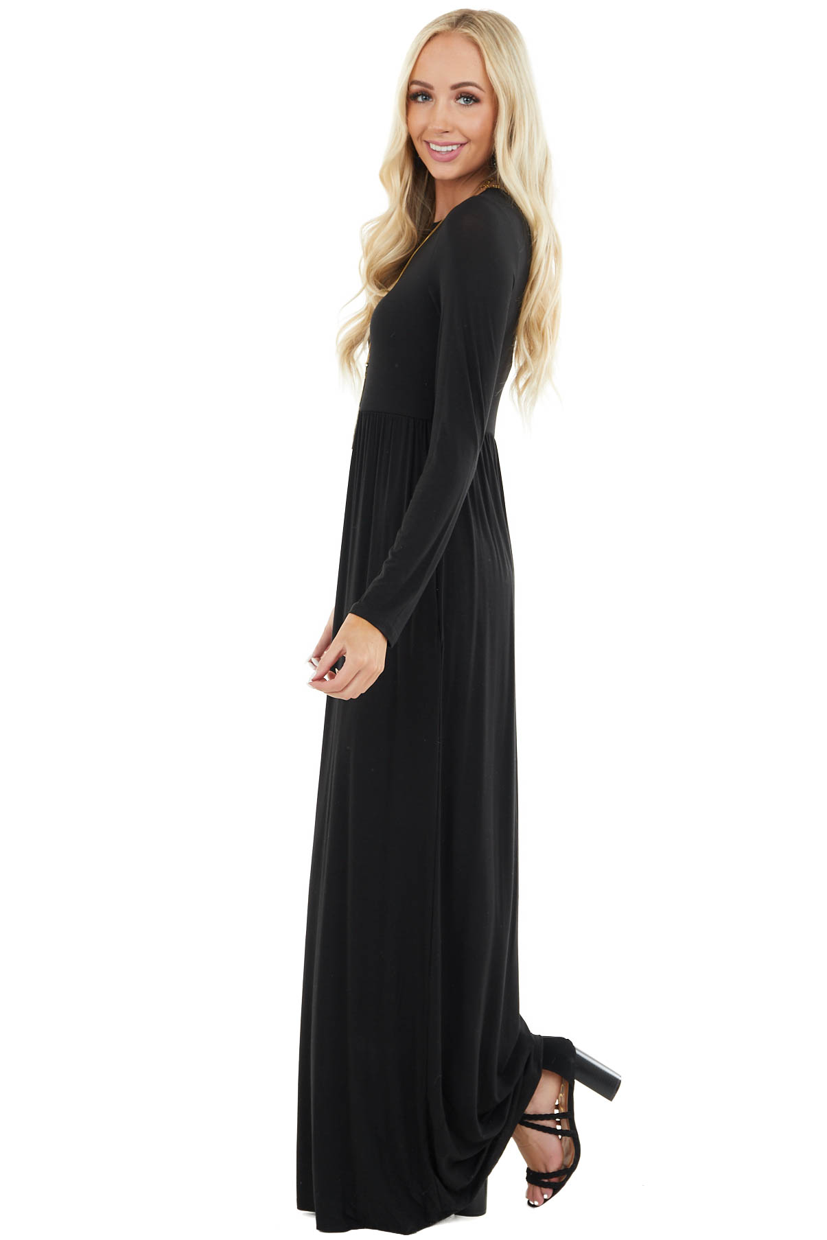 Black Long Sleeve Knit Maxi Dress with Pockets