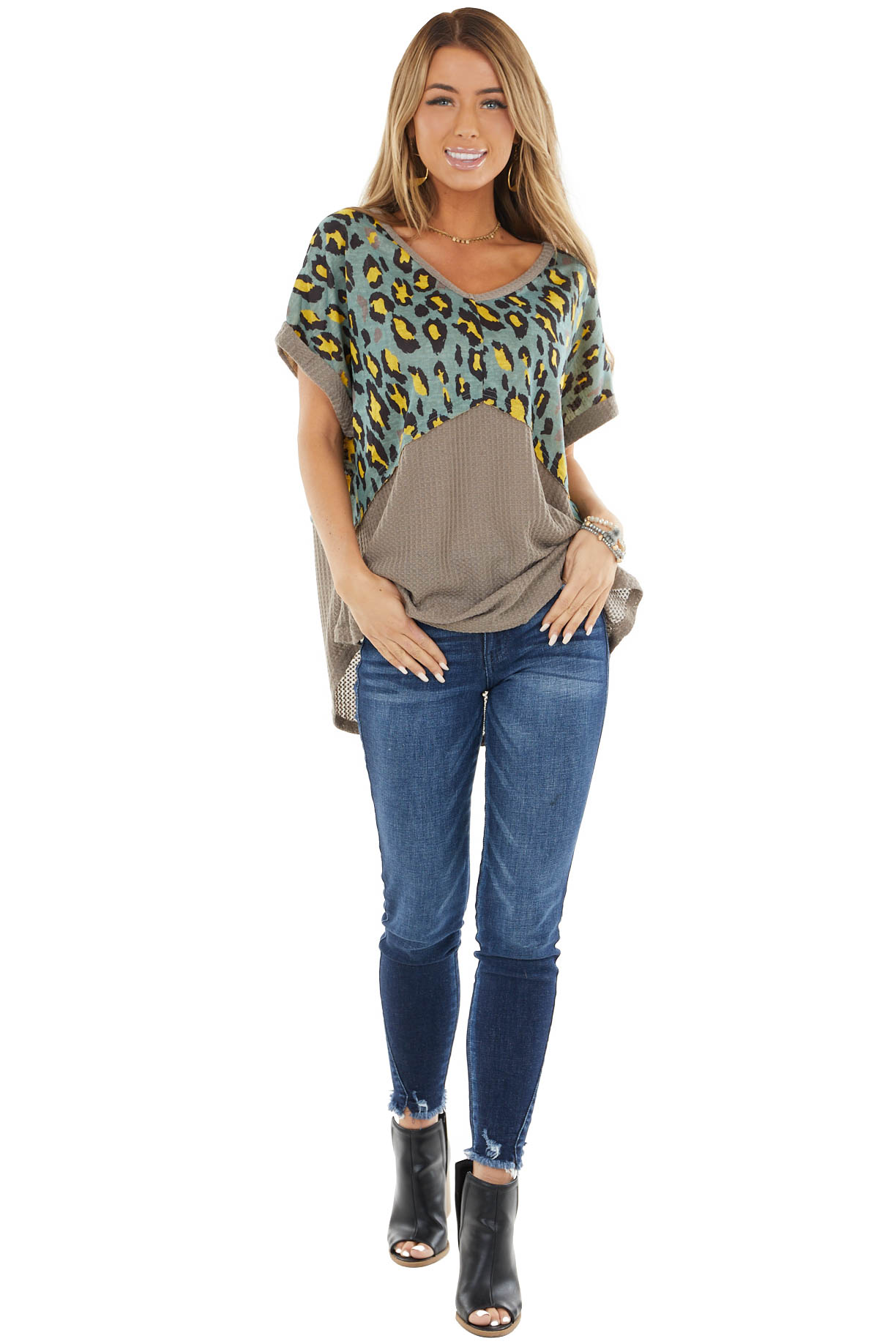 Taupe Waffle Knit Short Sleeve Top with Leopard Contrast