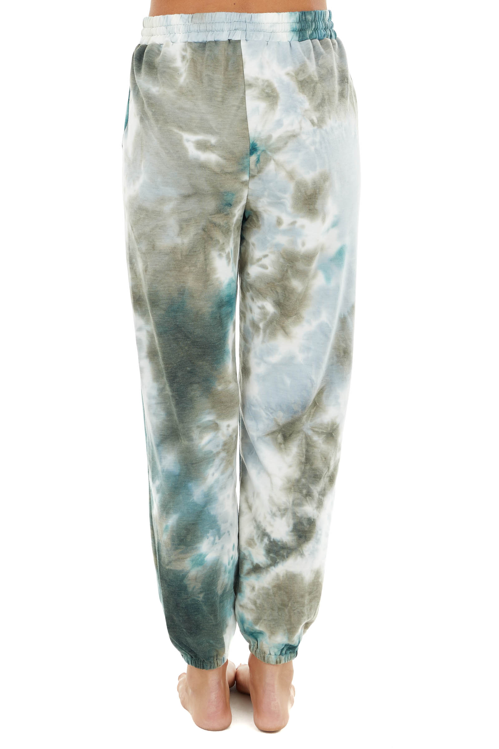 Teal and Taupe Tie Dye Drawstring Sweatpants with Pockets
