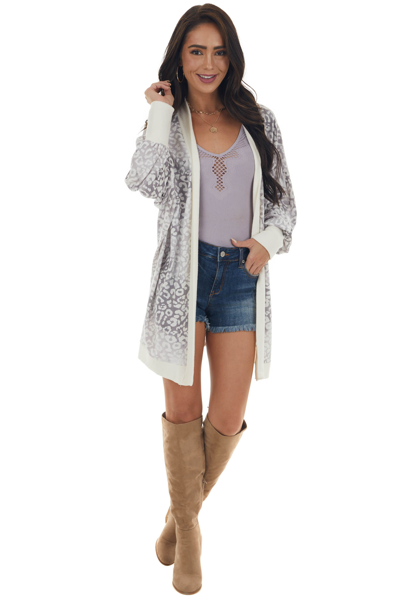 Cream and Taupe Leopard Print Cardigan with Ribbed Details