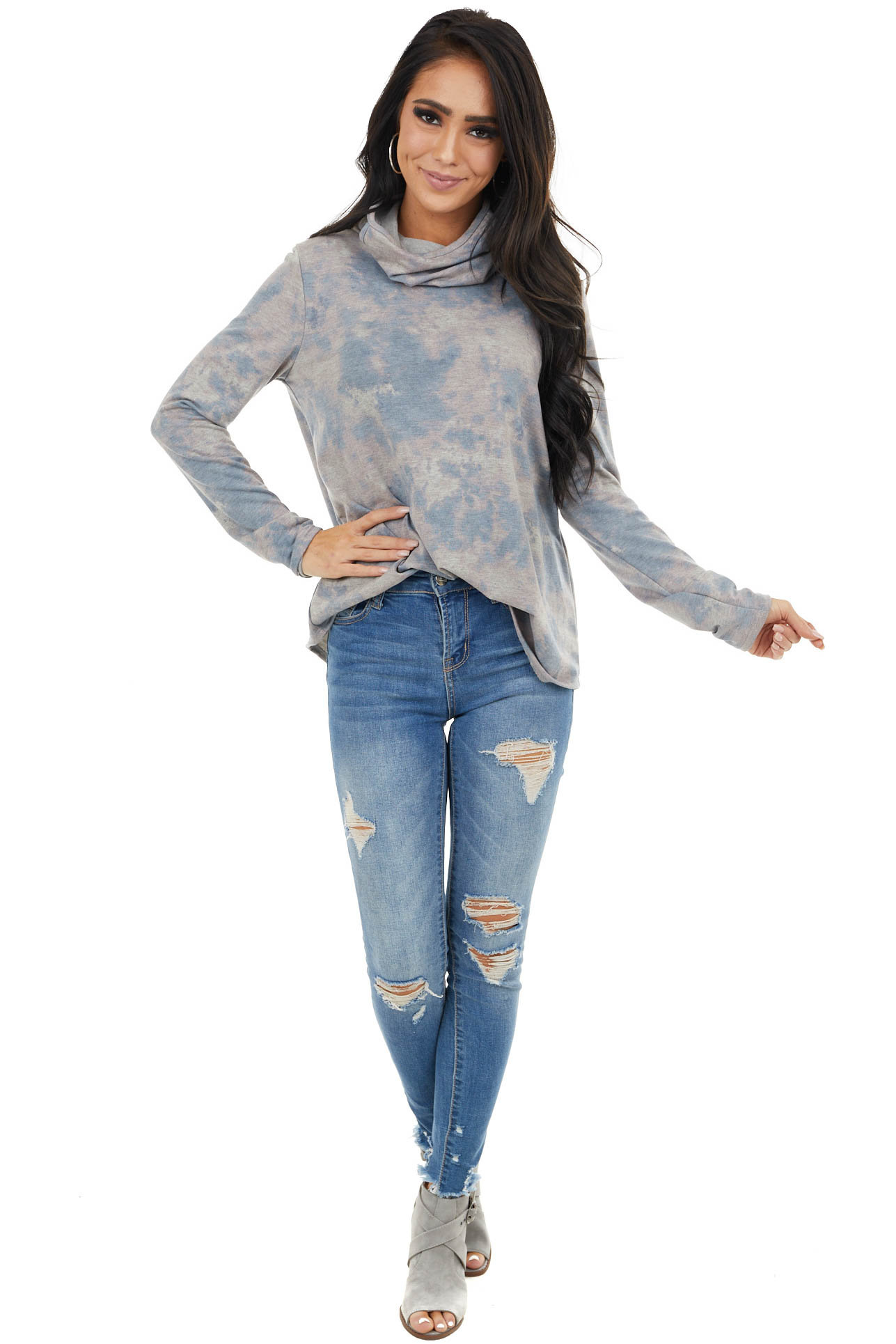 Dusty Rose and Blue Tie Dye Top with Cowl Neck Face Covering