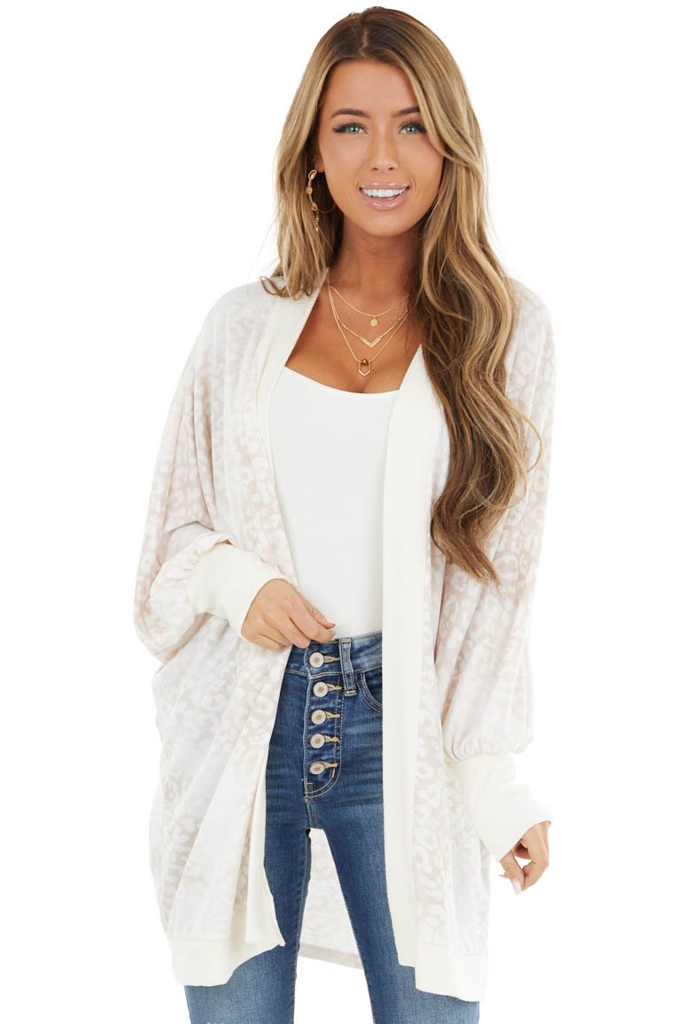 Cream and Blush Leopard Print Cardigan with Ribbed Details
