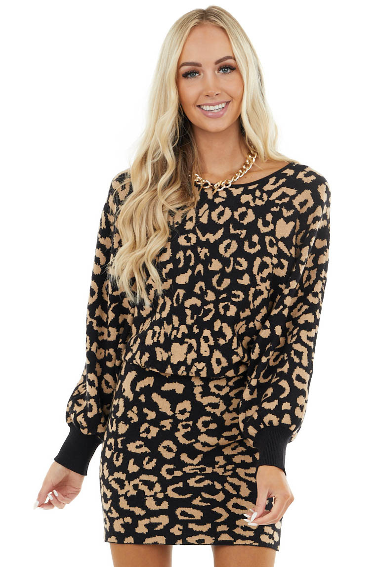 Black and Latte Leopard Sweater Dress with Dolman Sleeves