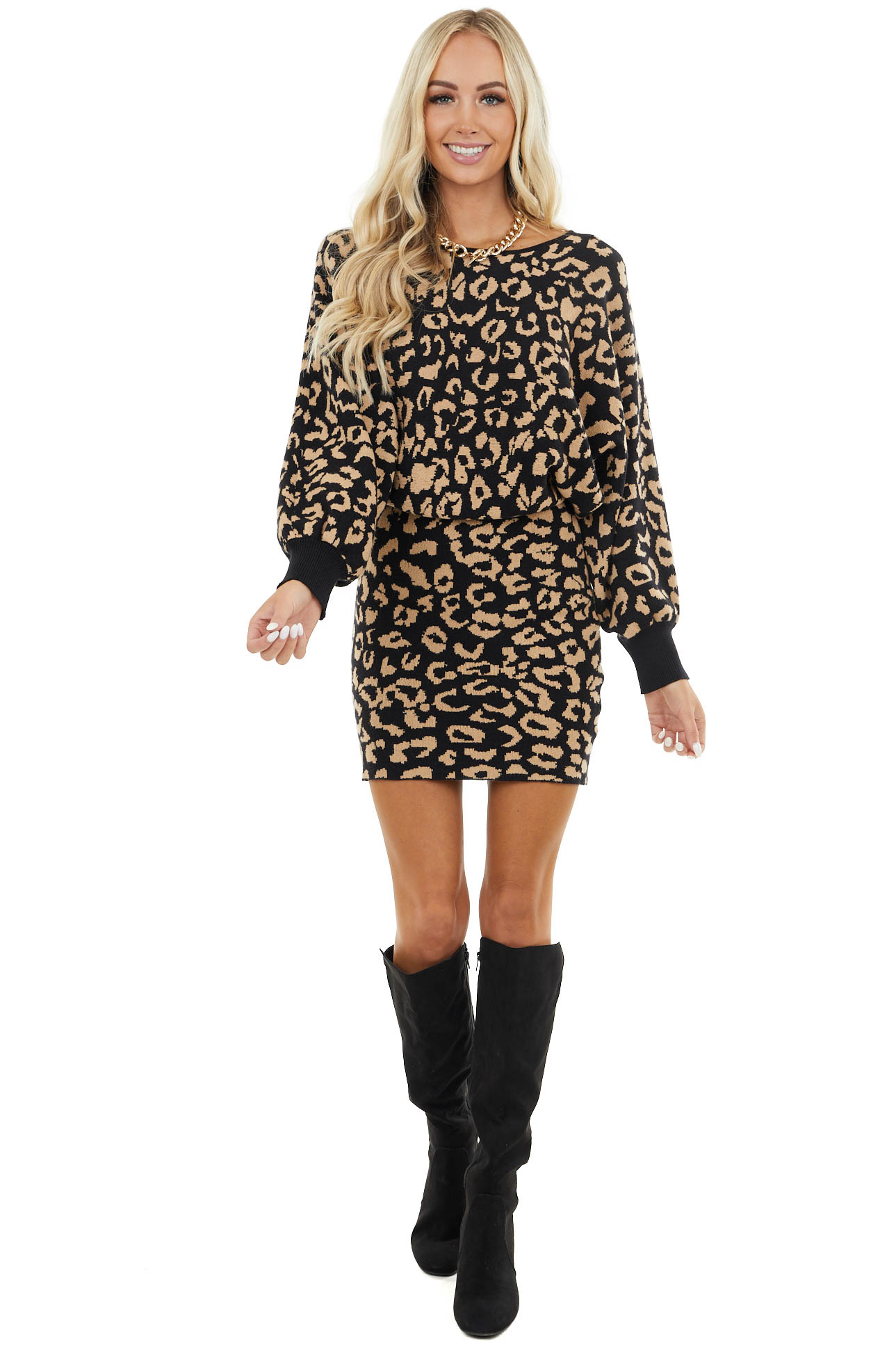 Black and Latte Leopard Mini Dress with Dolman Sleeves