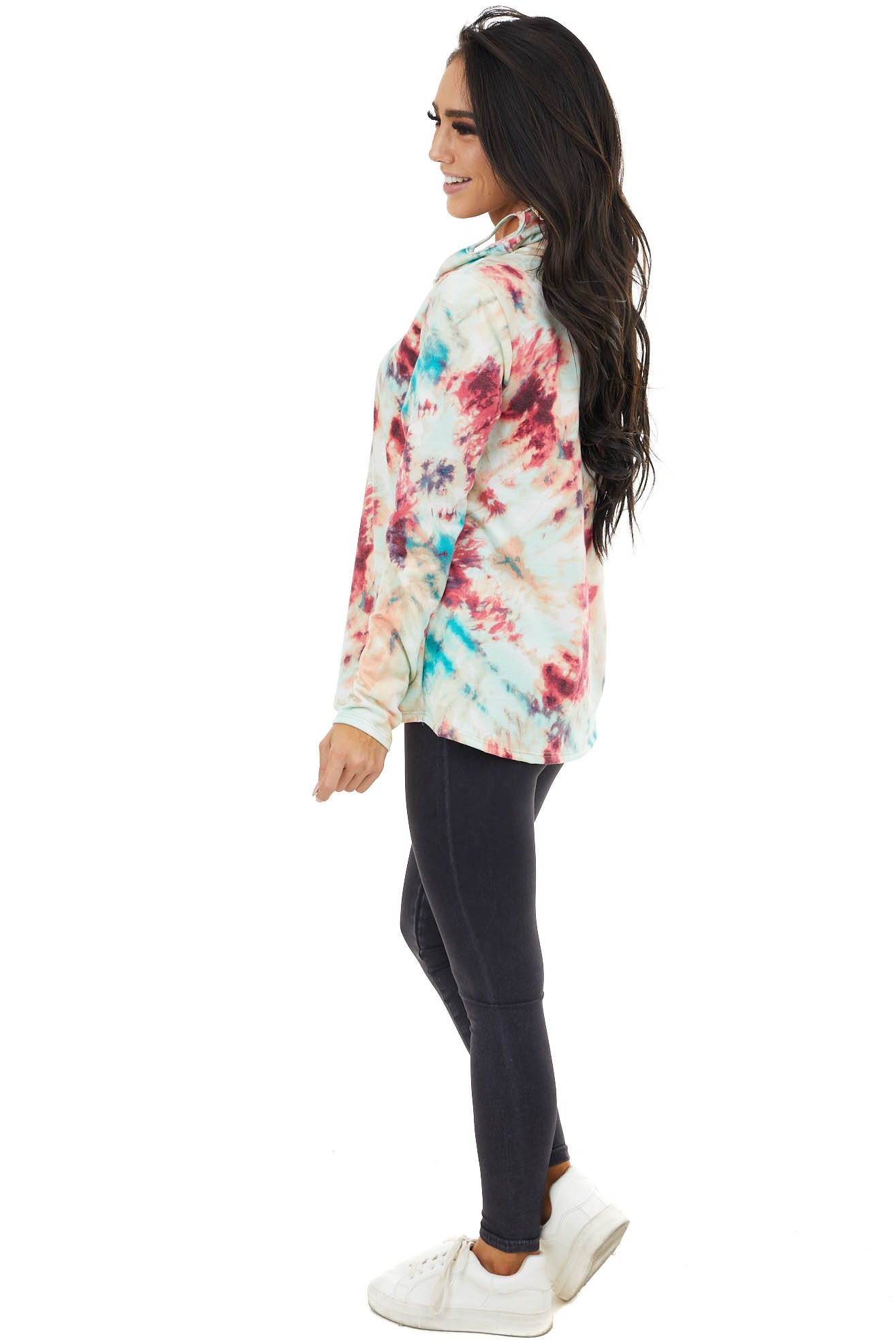 Fuchsia and Teal Tie Dye Top with Cowl Neck Face Covering