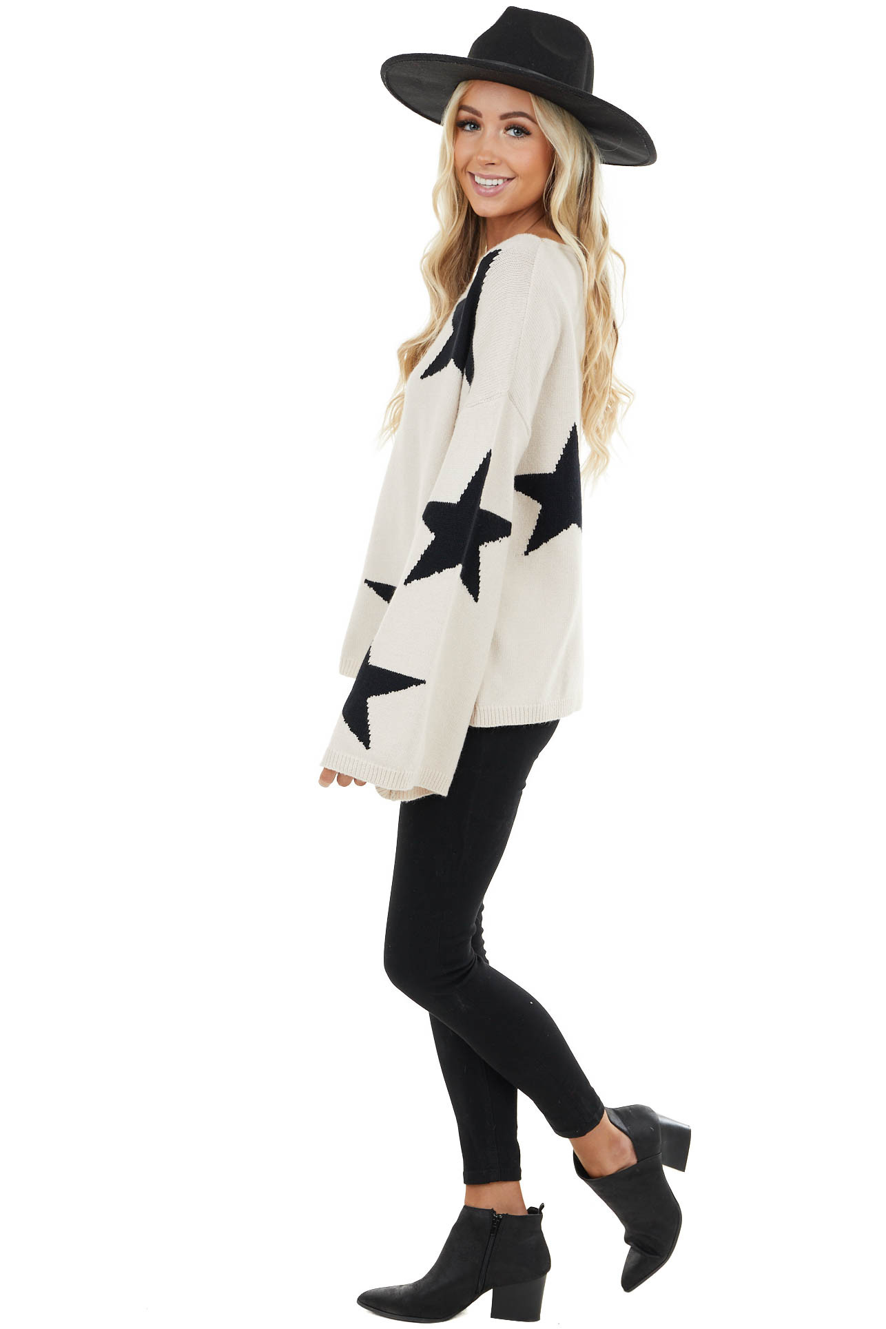 Desert Sand Sweater with Black Star Print and Flare Sleeves