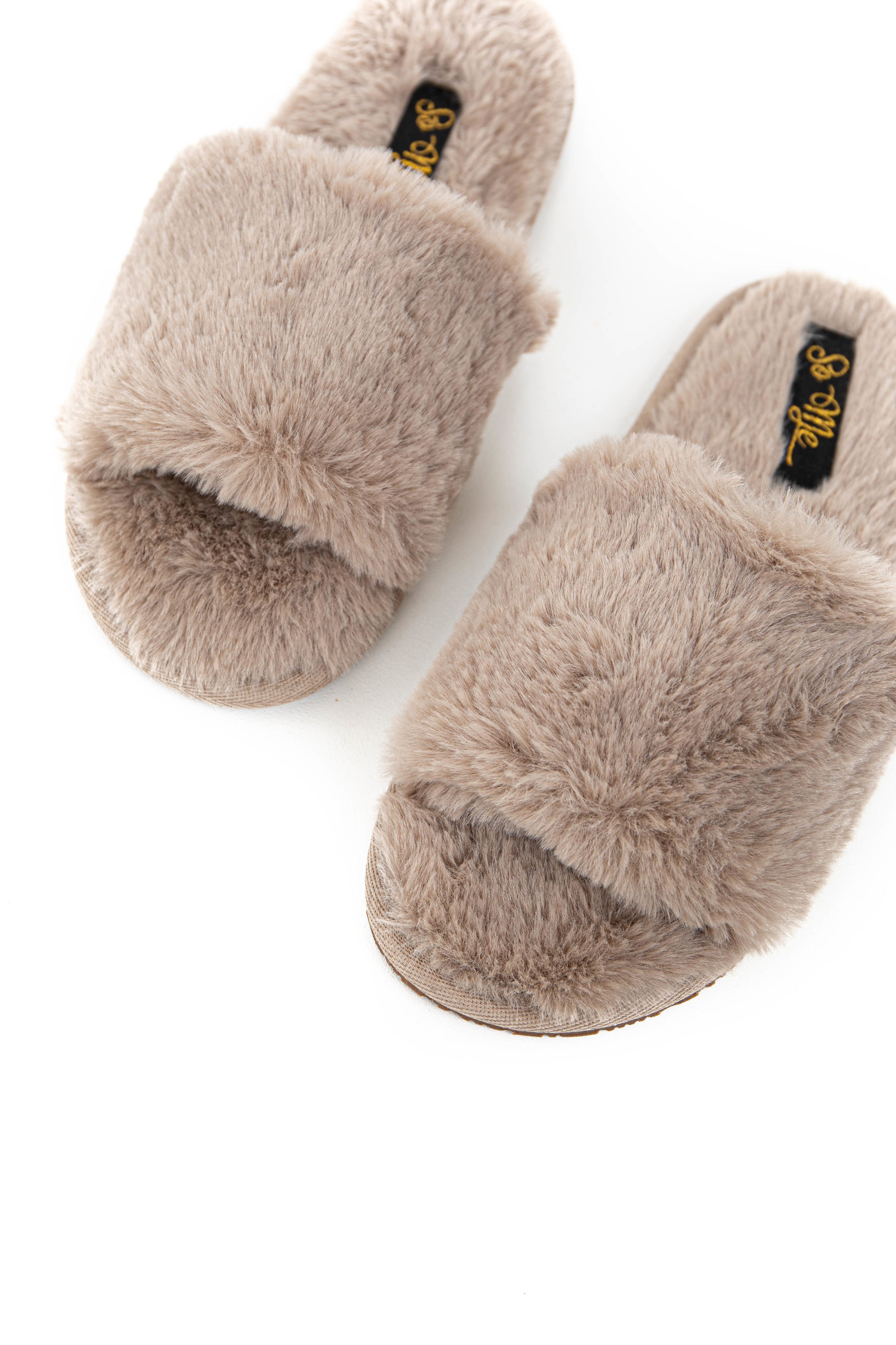 Taupe Fuzzy Faux Fur Slipper with Foam Sole