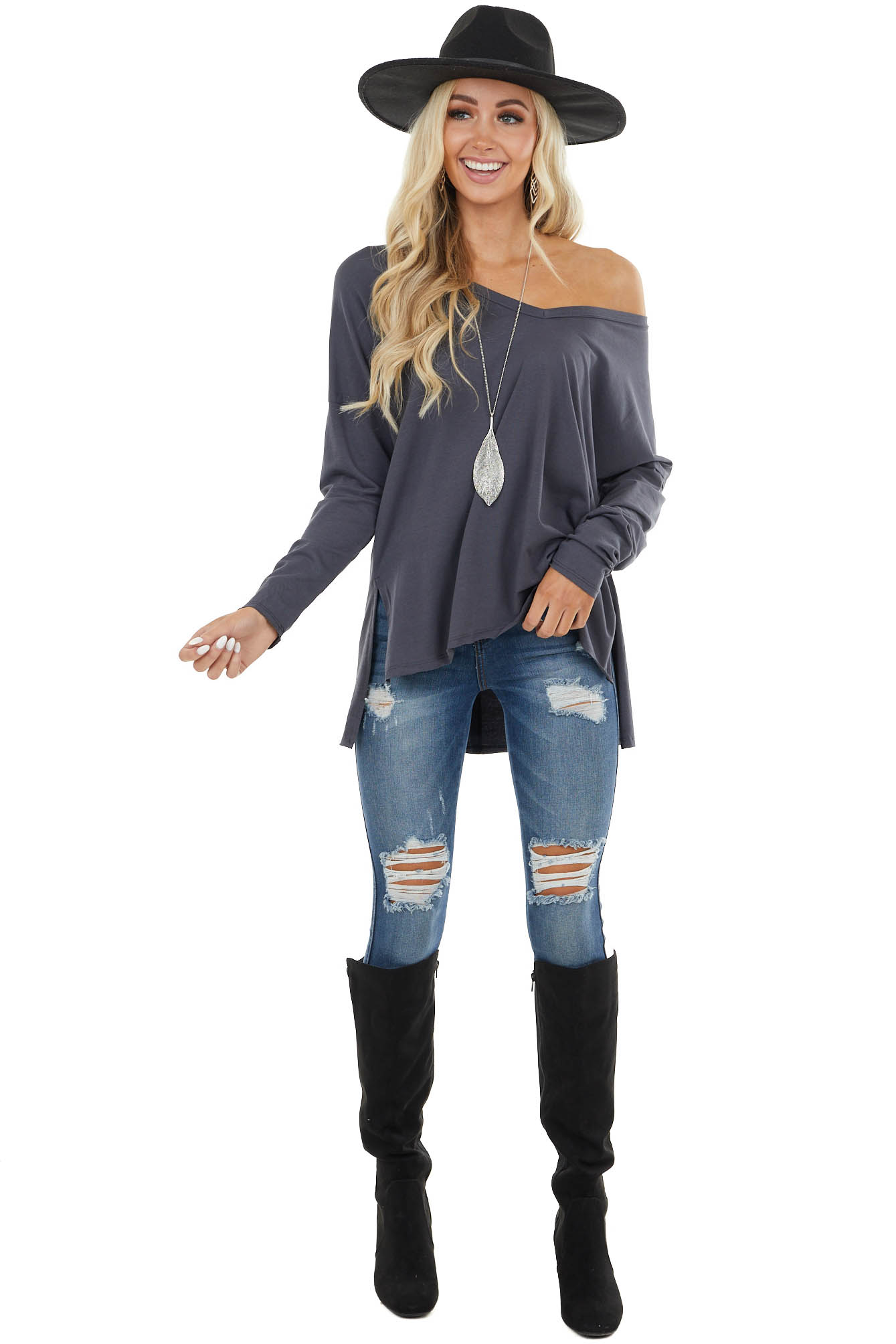 Stormy Grey Long Sleeve Top with Side Slit Detail