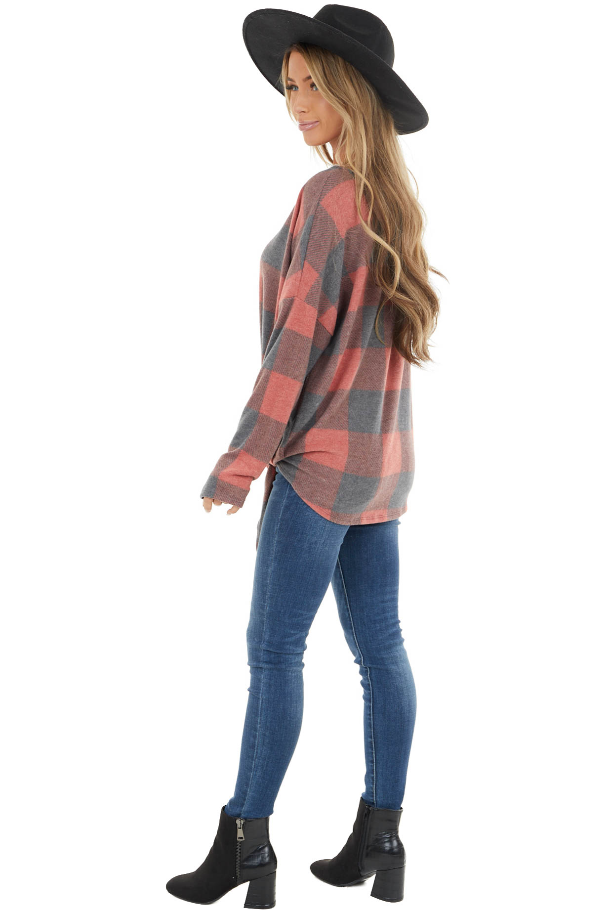 Ruby Red Buffalo Plaid Print Long Sleeve Knit Top with Tie