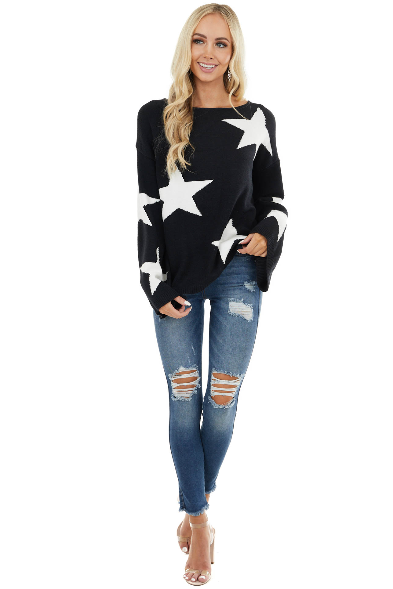 Black Sweater with White Star Print and Flare Sleeves