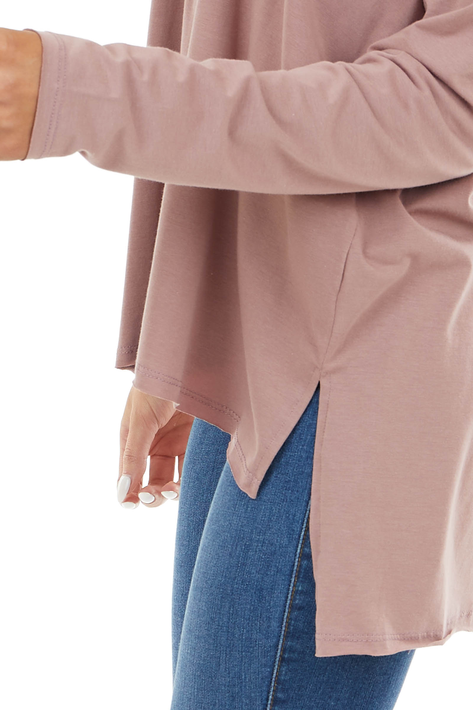 Dusty Rose Long Sleeve Top with Side Slit Detail