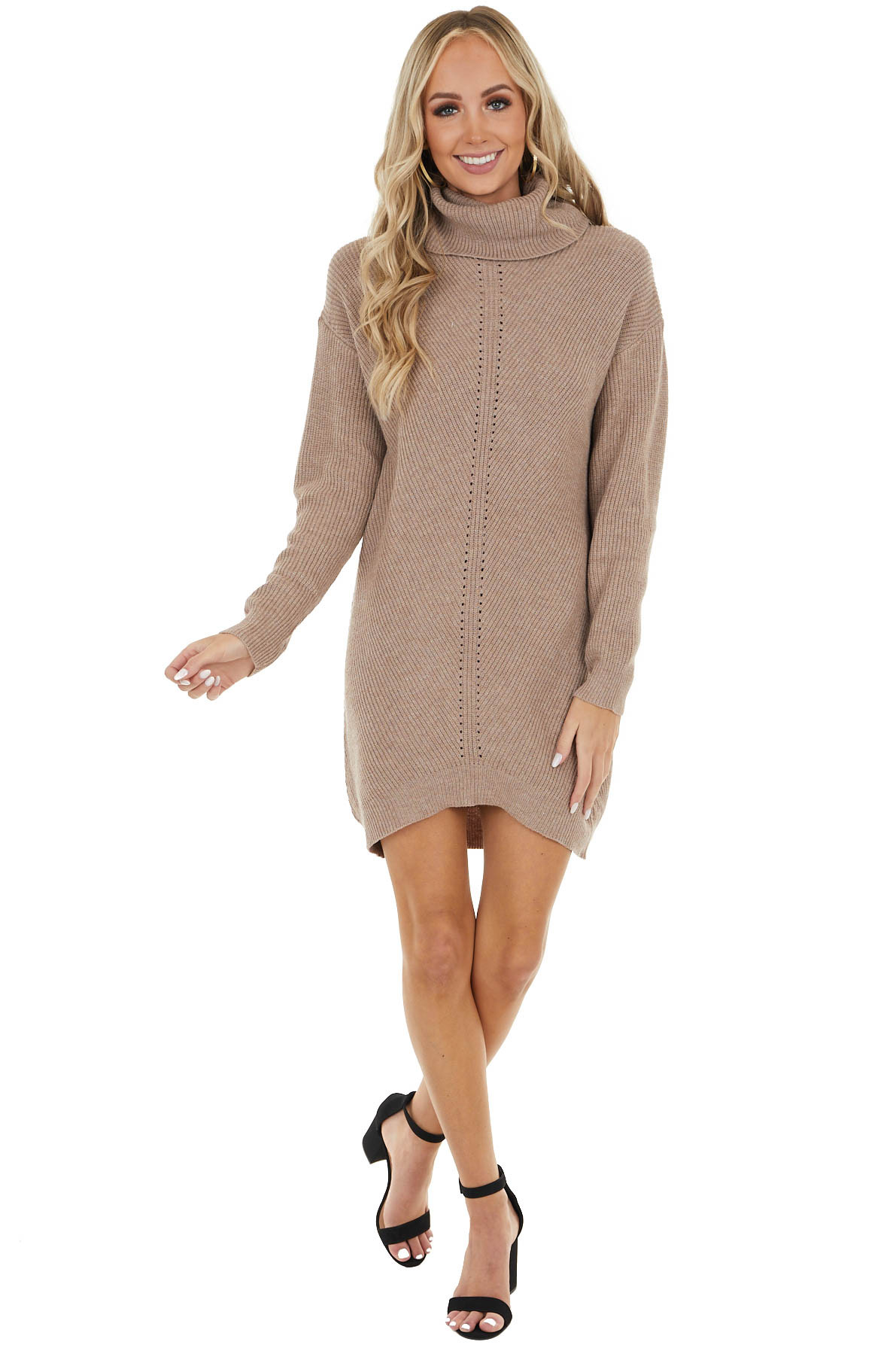 Taupe Cowl Neck Sweater Dress with Small Cutout Details