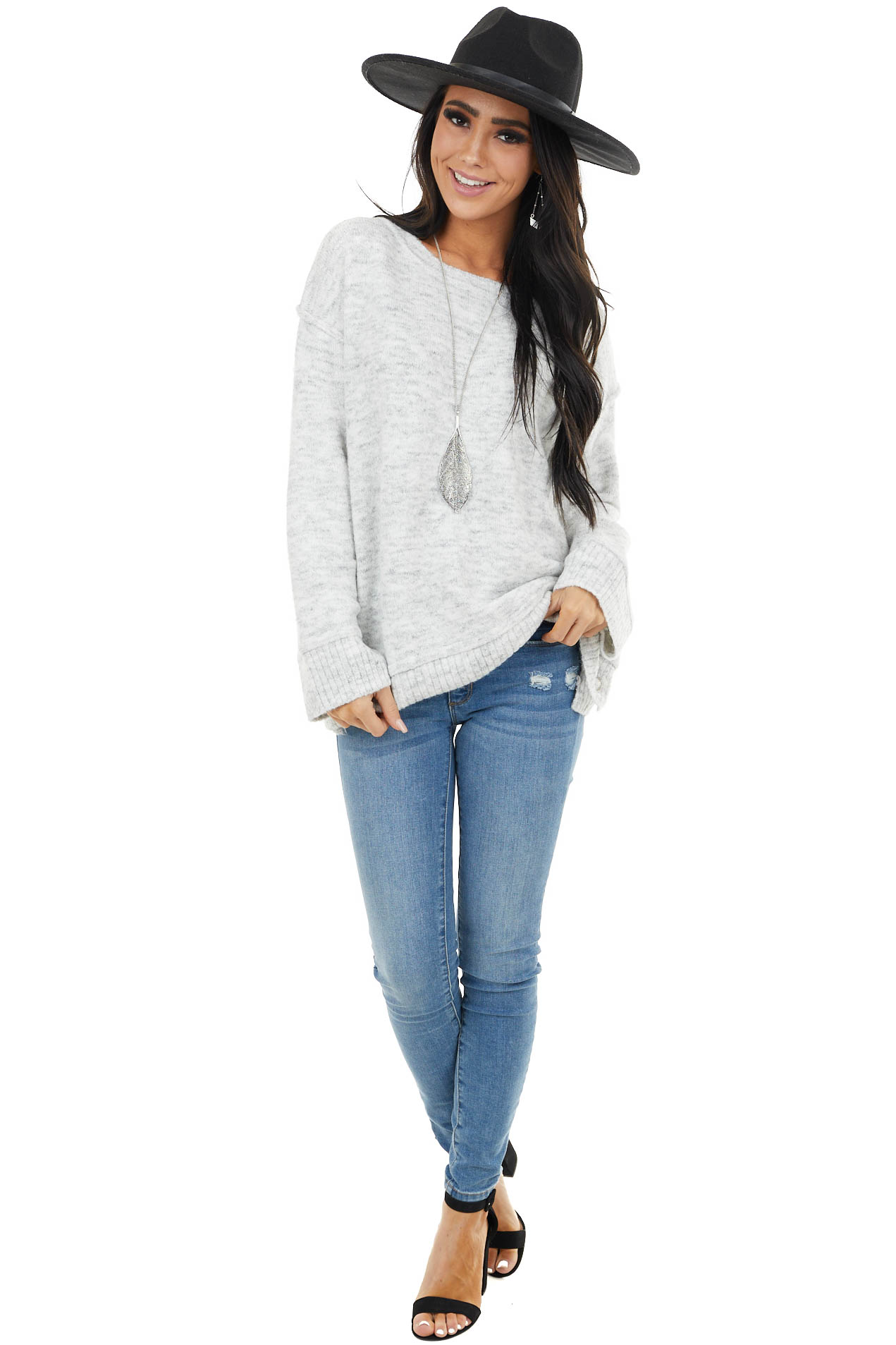 Heather Grey Knit Long Sleeve Sweater with Side Snap Details
