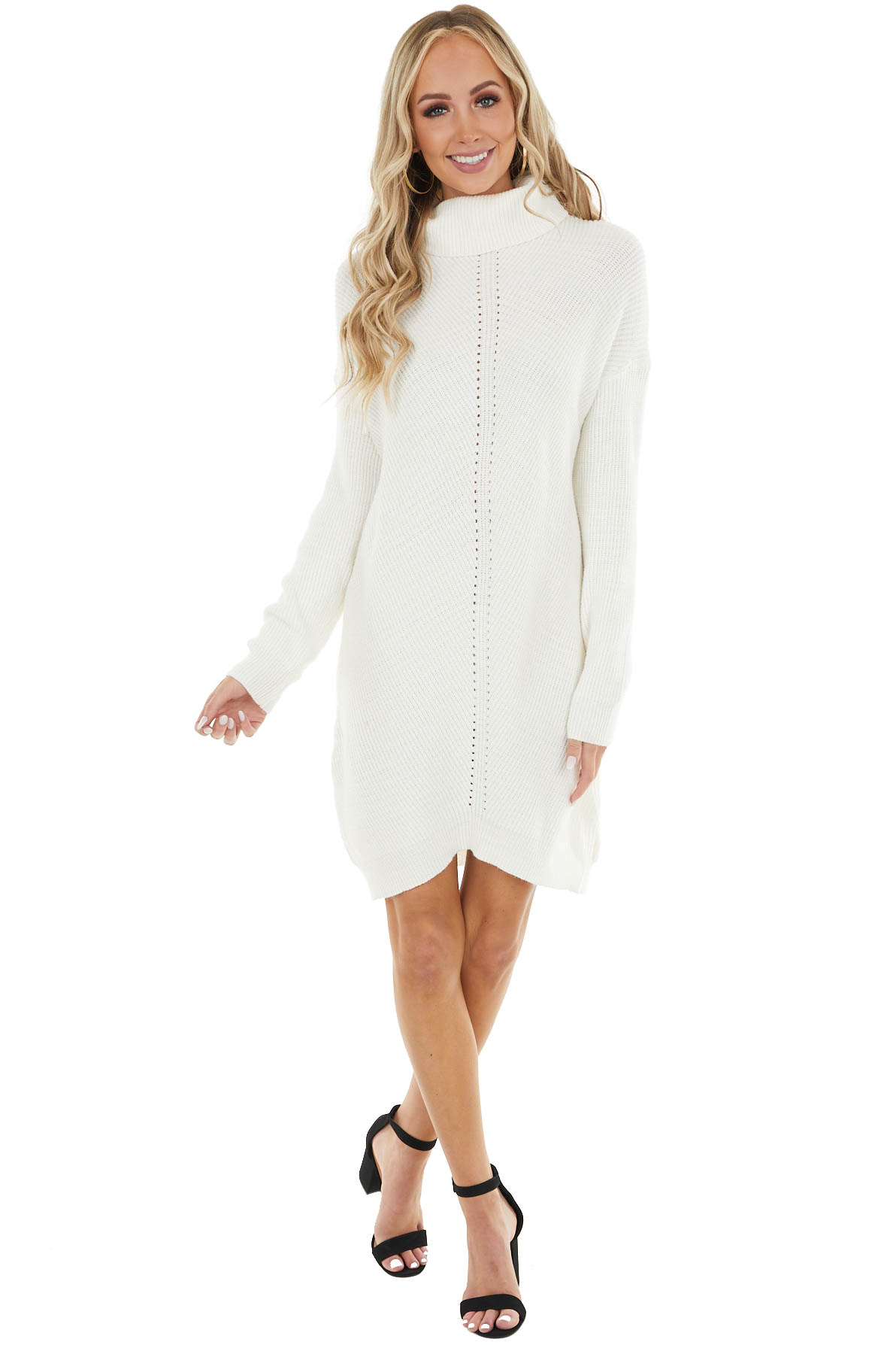 Ivory Cowl Neck Sweater Dress with Small Cutout Details