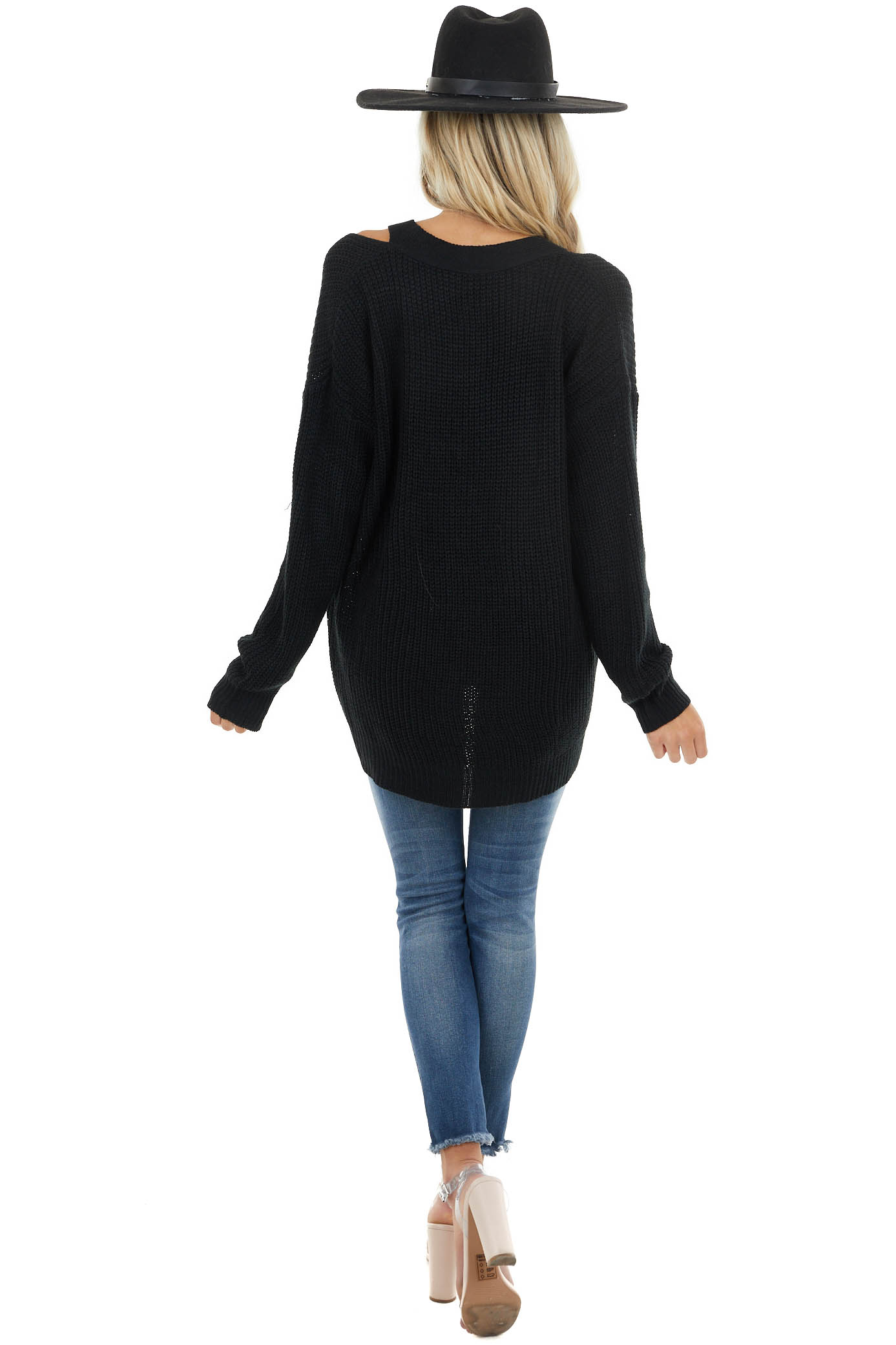 Black Knit Long Sleeve Sweater with Cutout V Neck Detail