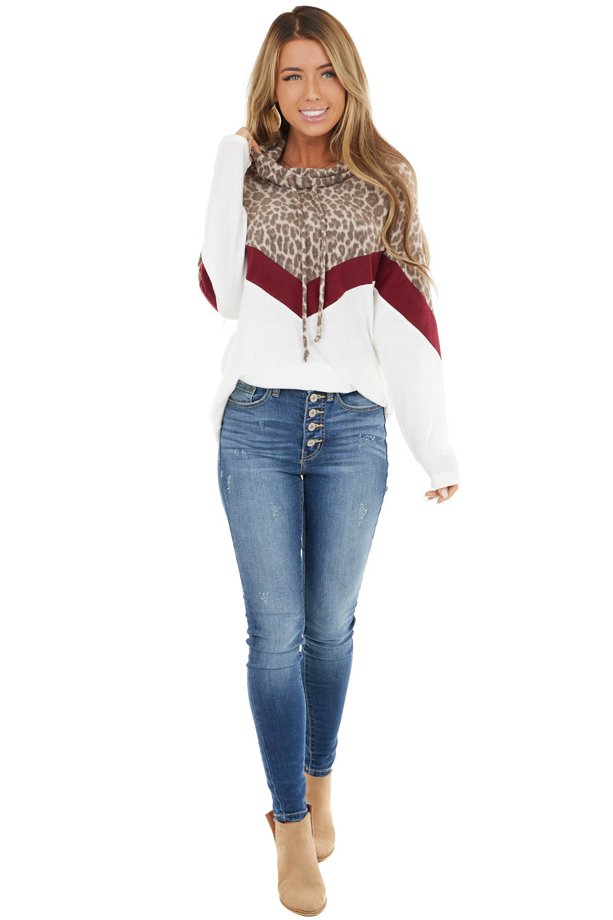 Ivory and Burgundy Leopard Cowl Neck Top with Drawstrings