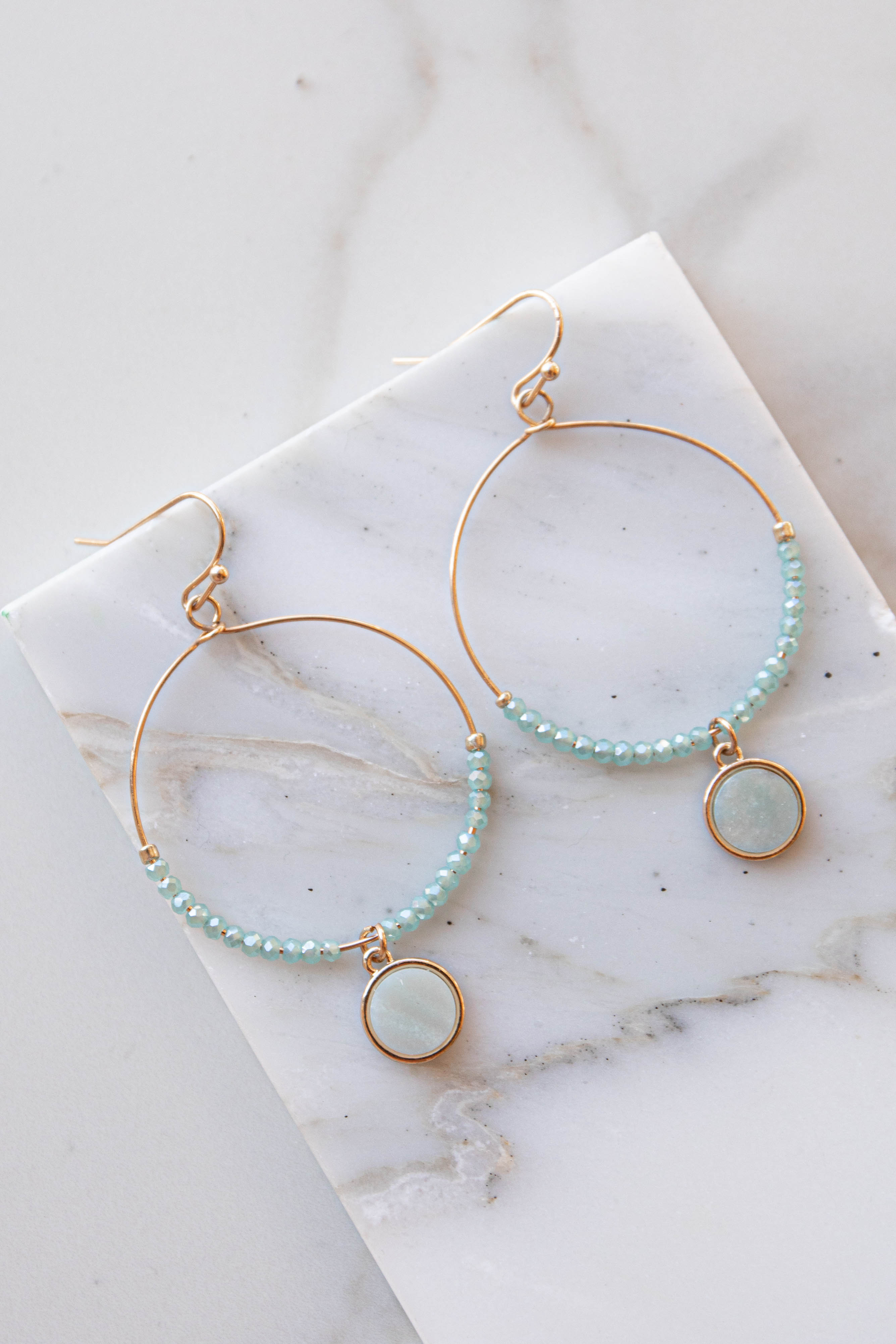 Mint and Gold Hoop Earrings with Natural Gemstone Charm