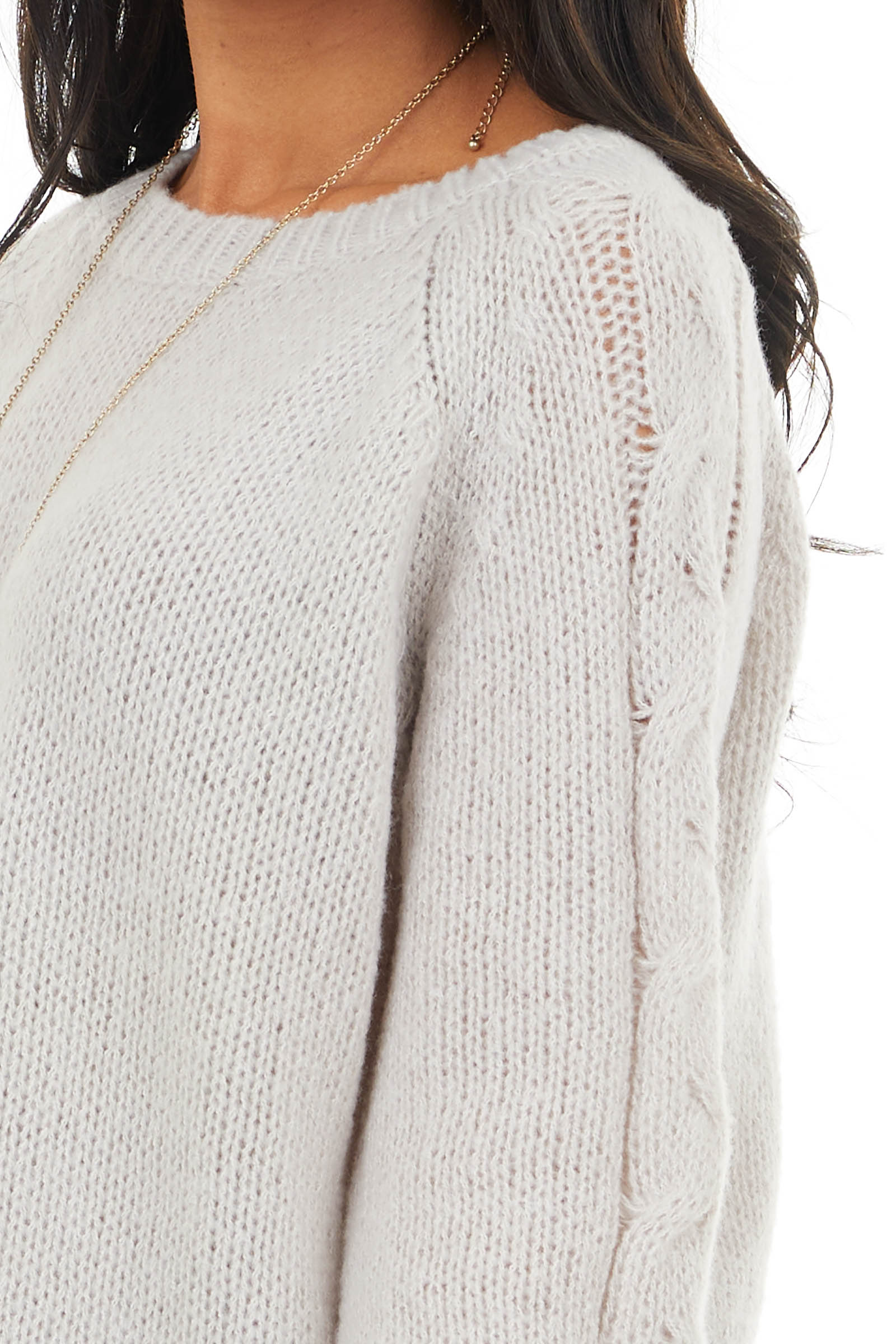Oatmeal Sweater with Crochet Detail on Long Bell Sleeves