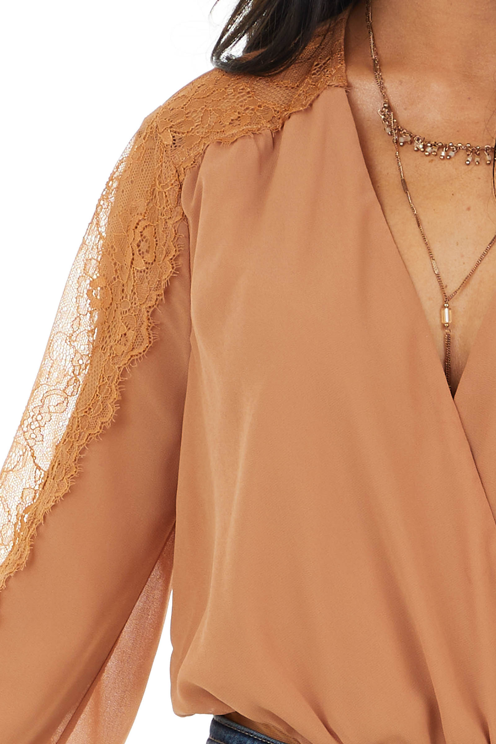 Caramel Surplice Woven Bodysuit with Sheer Crochet Sleeves
