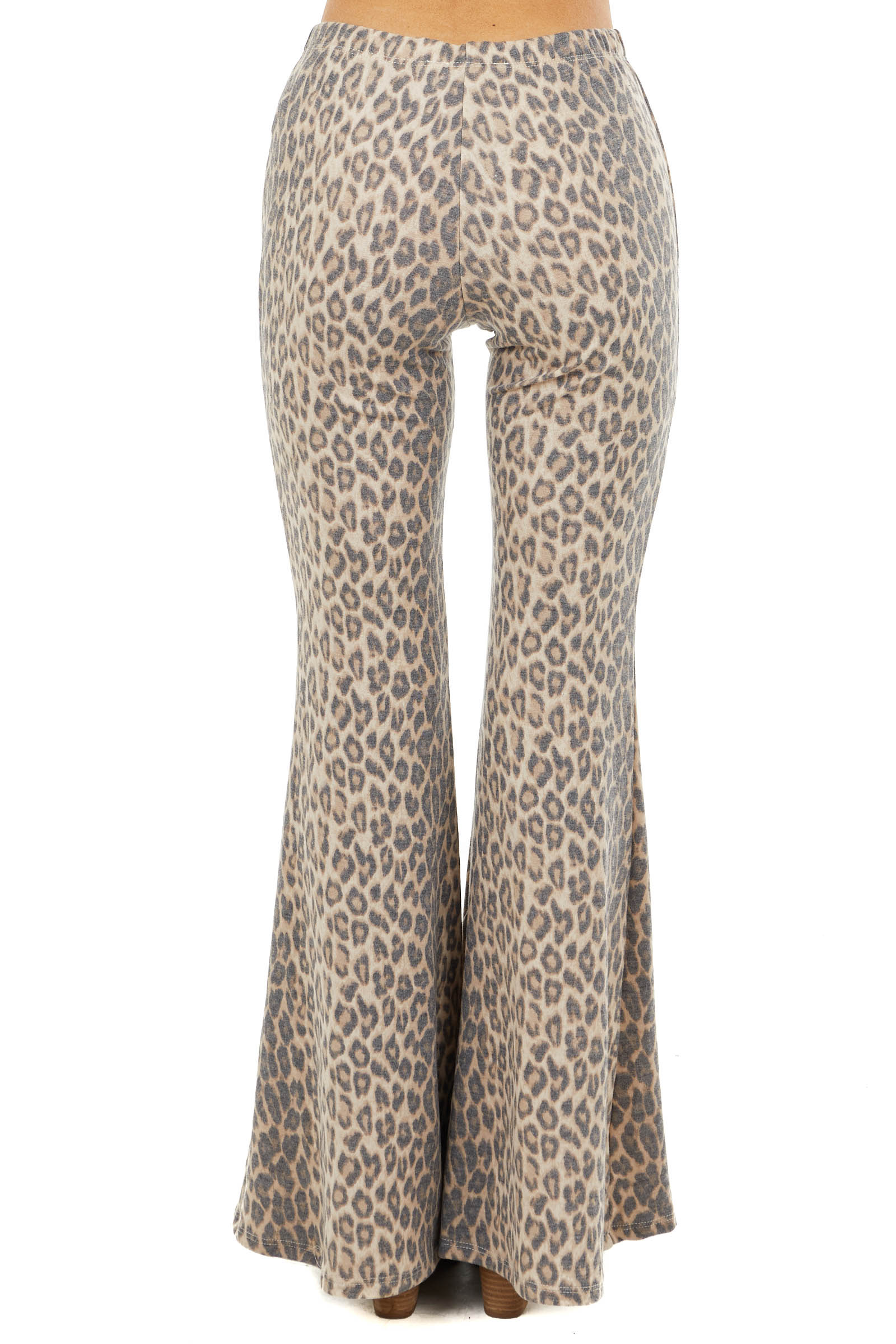 Latte Leopard Print Flare Knit Pants with Elastic Waist