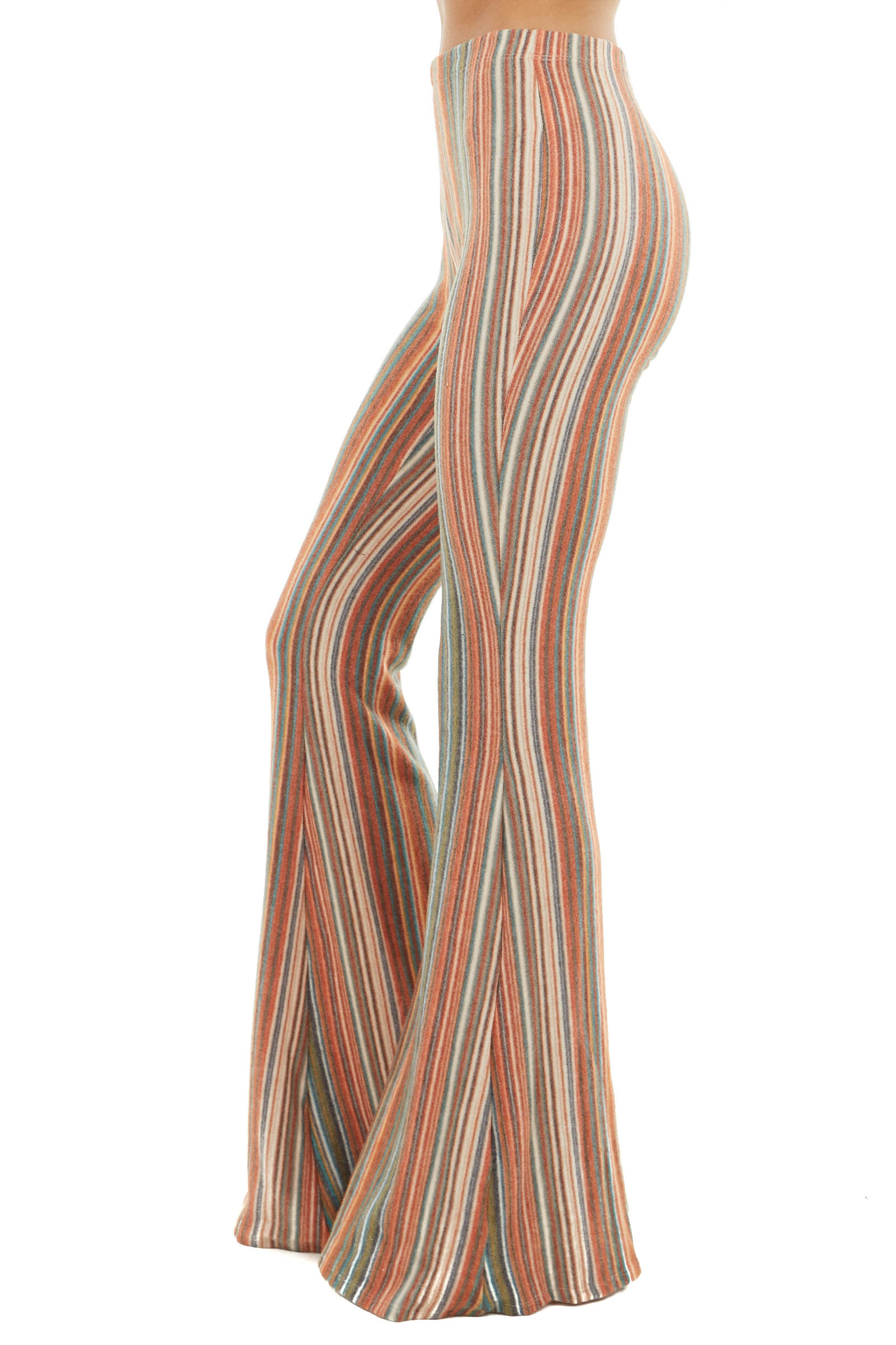 Multicolor Stripe Fuzzy Knit Flared Pants with Elastic Waist