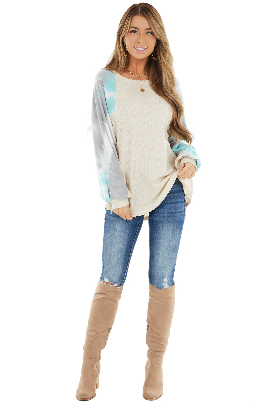 Cream Waffle Knit Long Sleeve Top with Tie Dye Detail