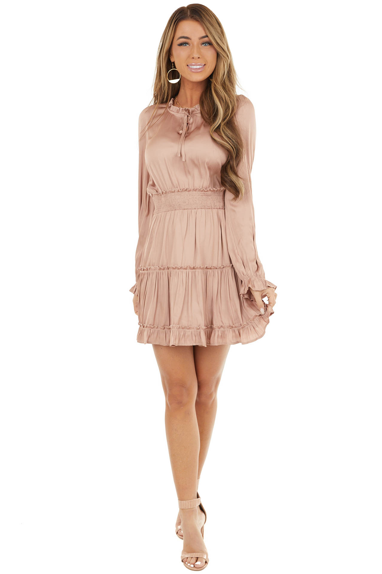 Dusty Blush Tiered Ruffle Dress with Smocked Waist Detail