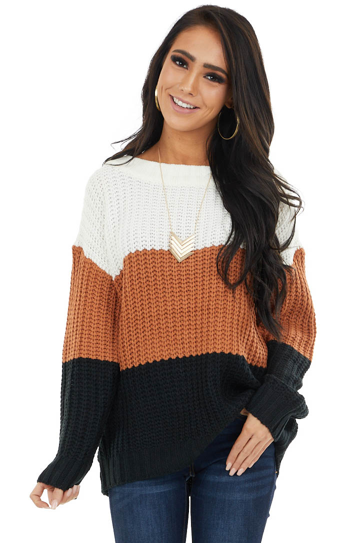 Ivory Colorblock Loose Knit Sweater with Boat Style Neckline
