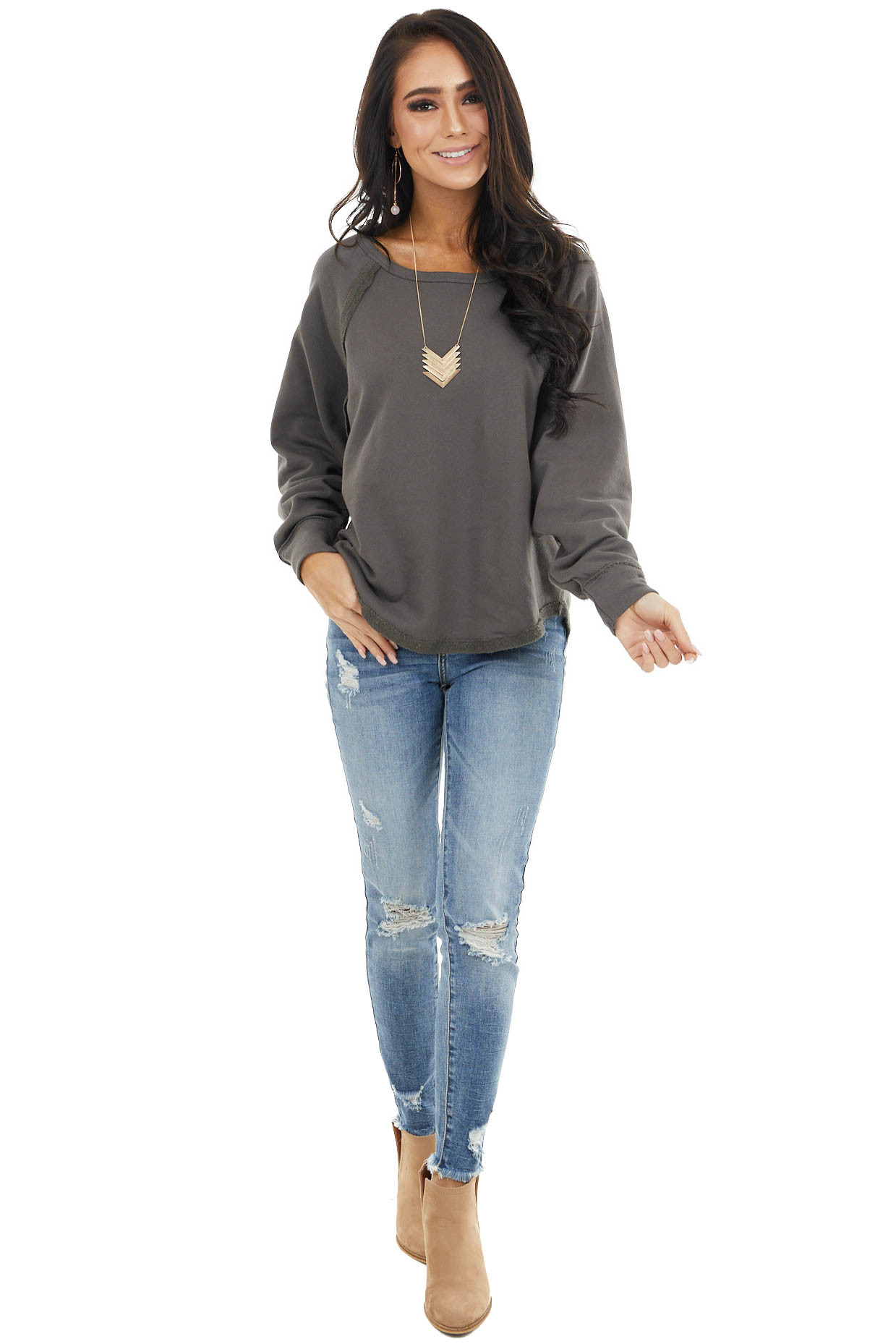 Charcoal Bat Wing Knit Top with Raw Reverse Stitch Details