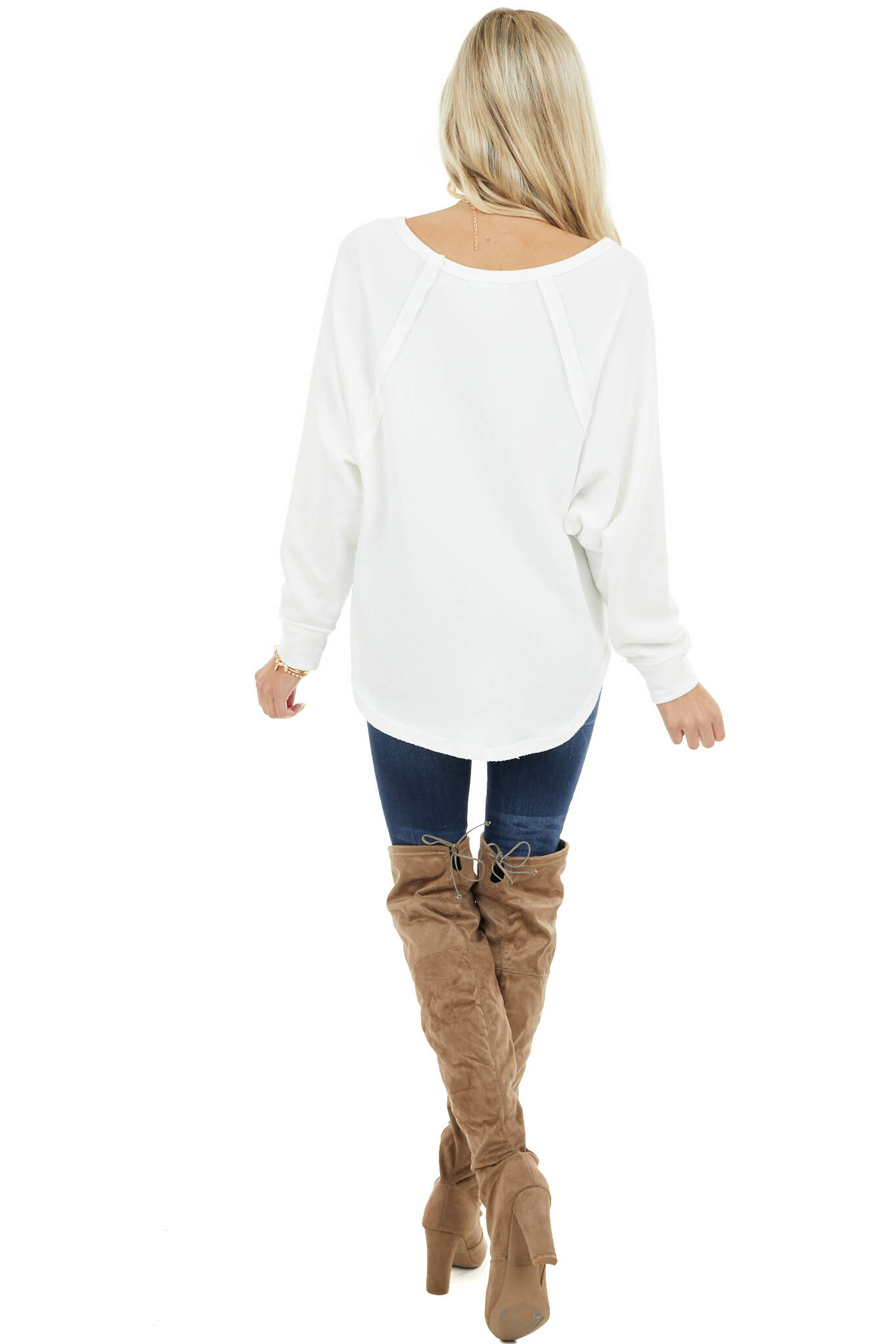Ivory Bat Wing Knit Top with Raw Reverse Stitch Details