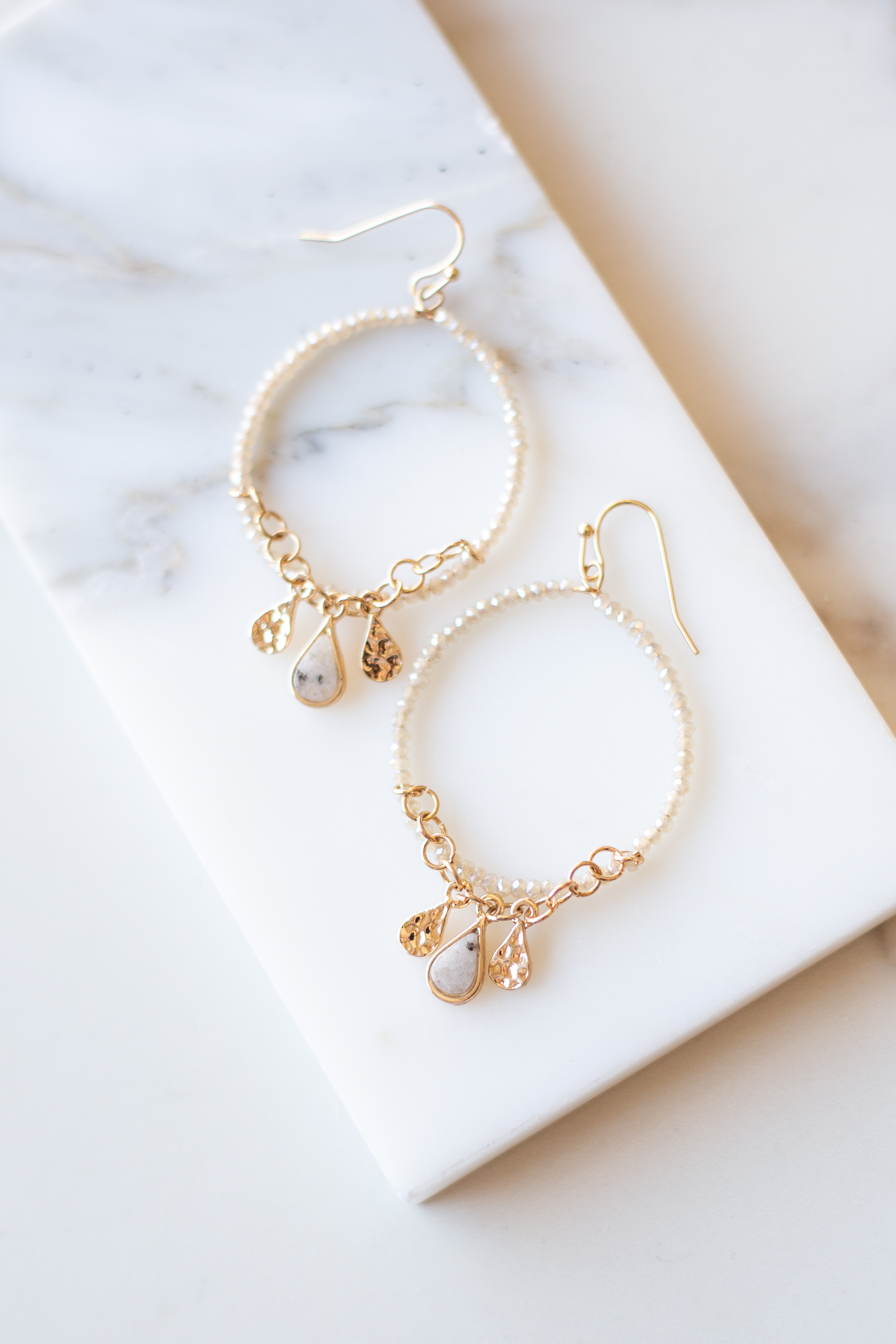 Ivory and Gold Hoop Earrings with Natural Gemstone Charms