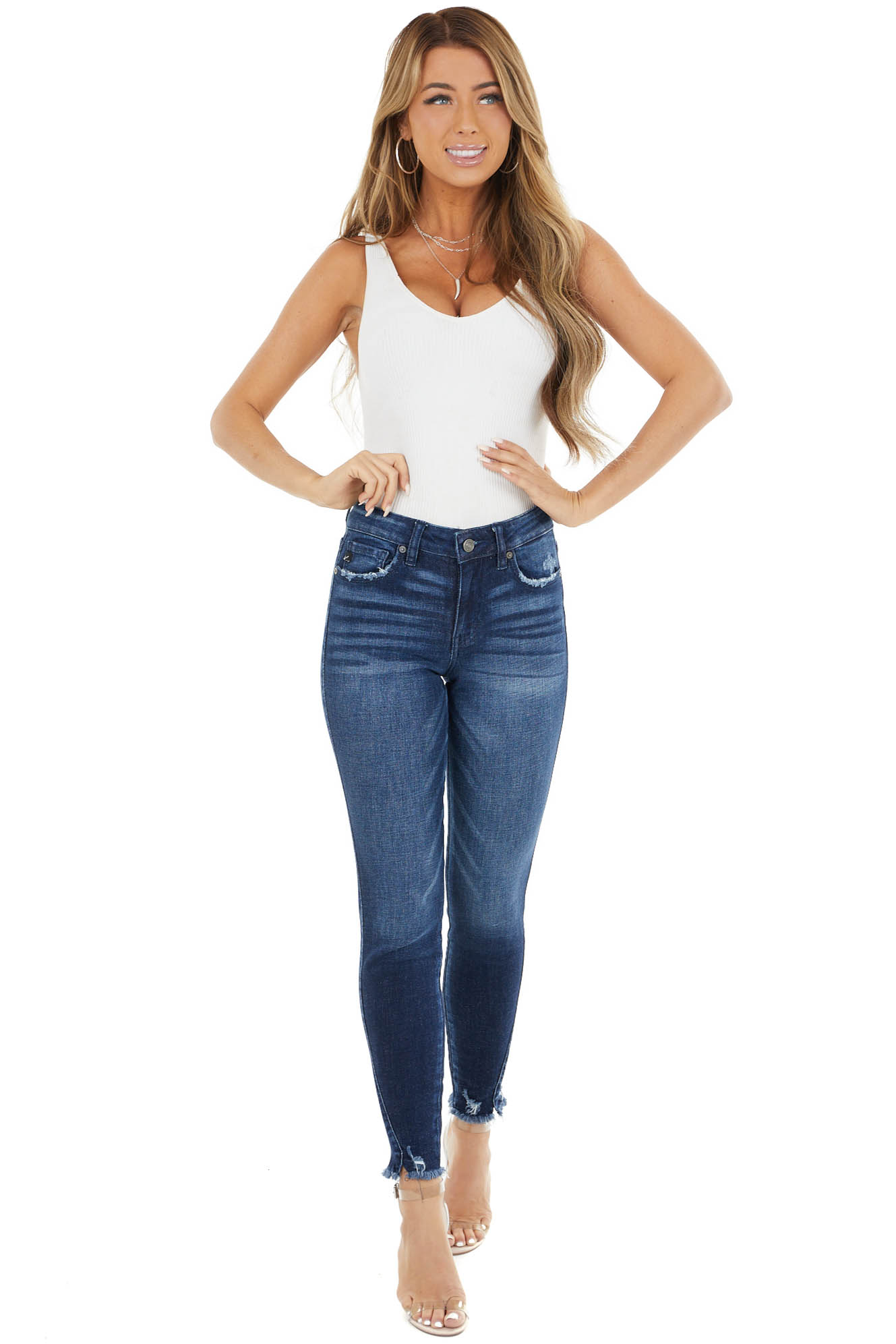 Dark Distressed Mid Rise Skinny Jeans with Frayed Detail