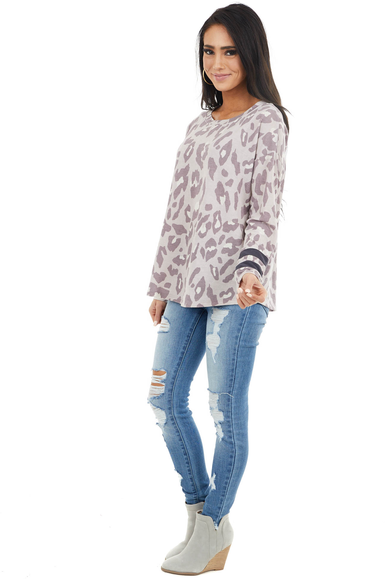 Lavender Leopard Print Stretchy Knit Top with Stripe Detail